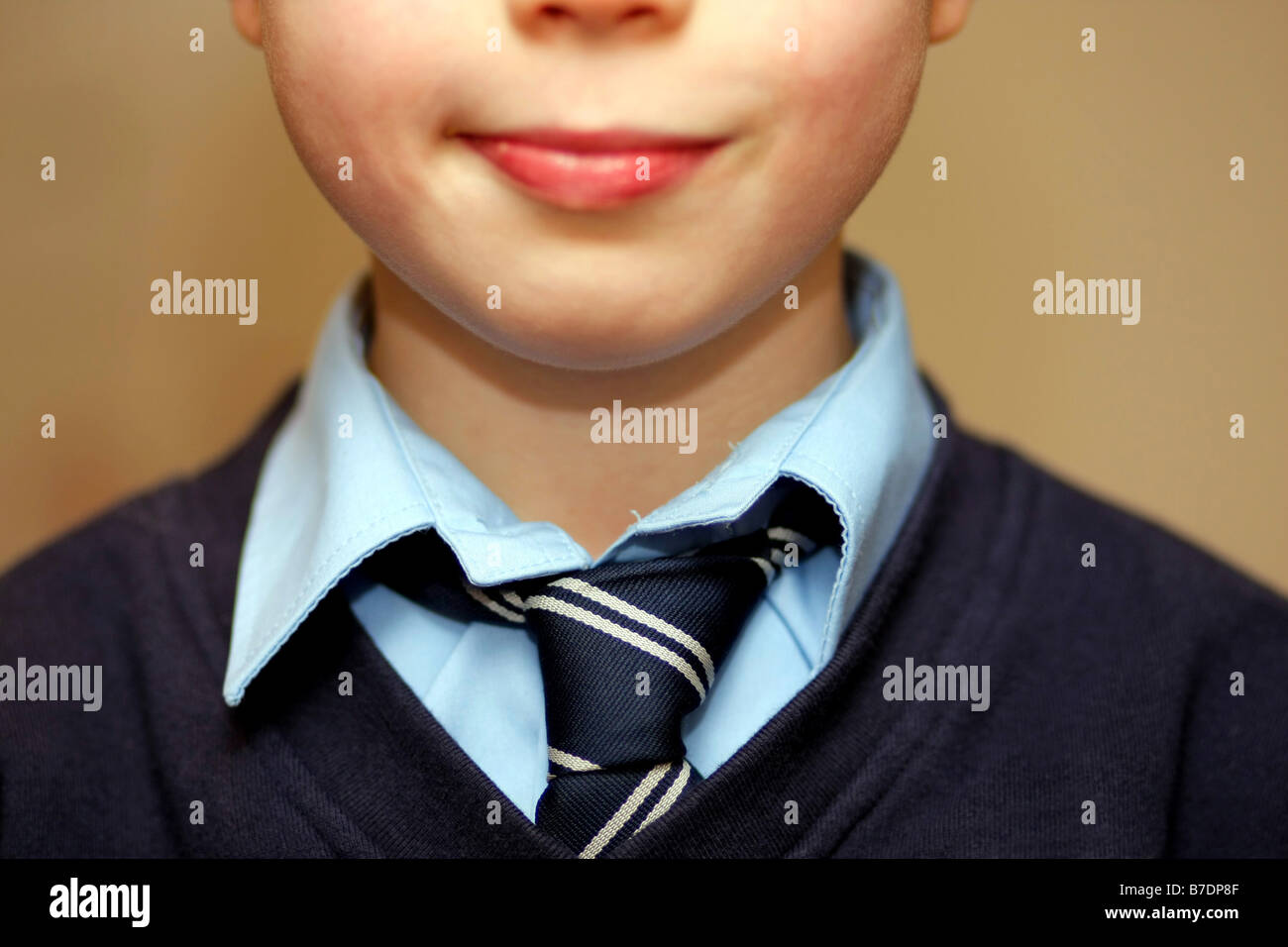 schoolboy wearing school tie - Stock Image
