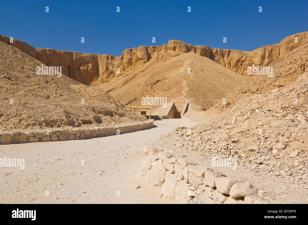 Entrance to the tomb of Pharaoh Rameses VII Valley of the Kings West bank of Luxor Egypt Middle East - Stock Image