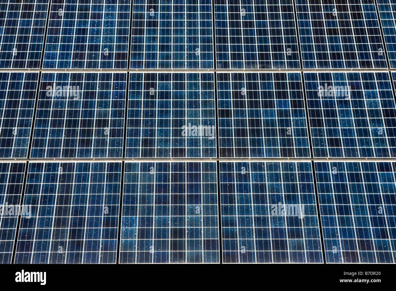 Series of Photovoltaic Solar Panels for Electricity Production - Stock Image
