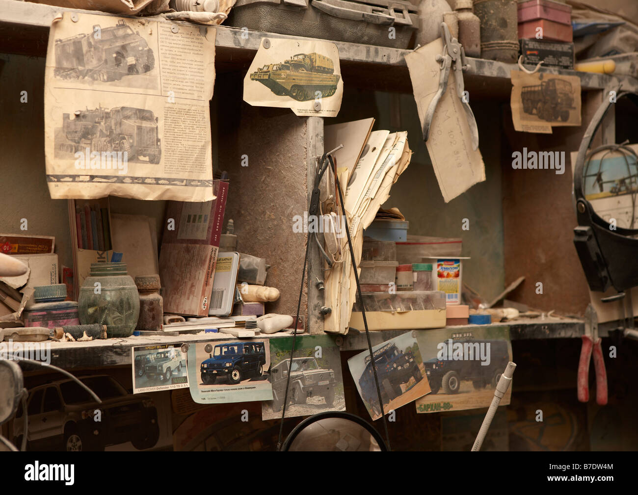 Pictures of old cars and military vehicles in Artist Workshop, Amguema, Chukotka,  Siberia Russia - Stock Image