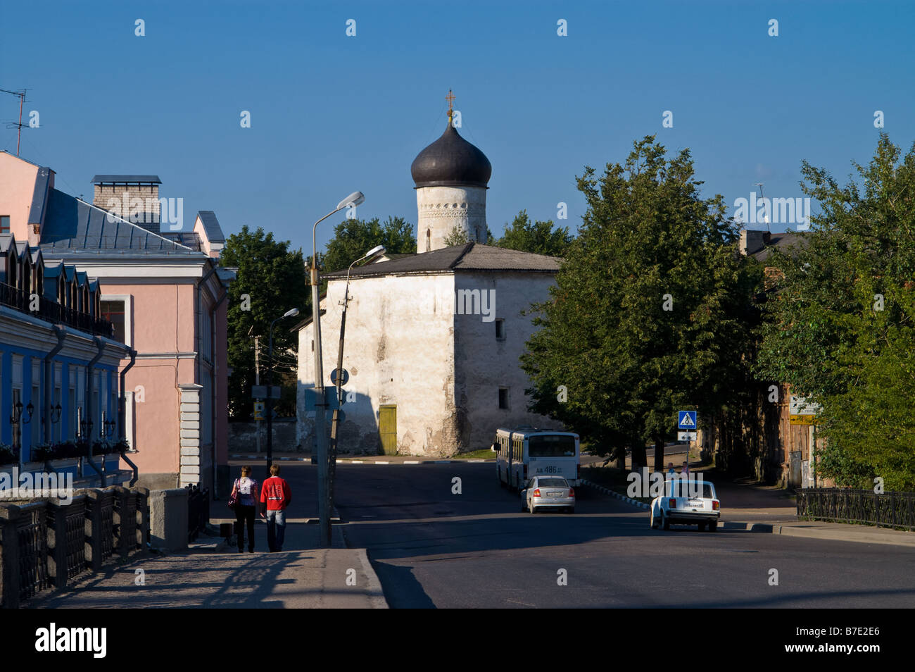 Church of St. Cosmas and St. Damian at the Bridge (1463) in Pskov city (Russia) - Stock Image