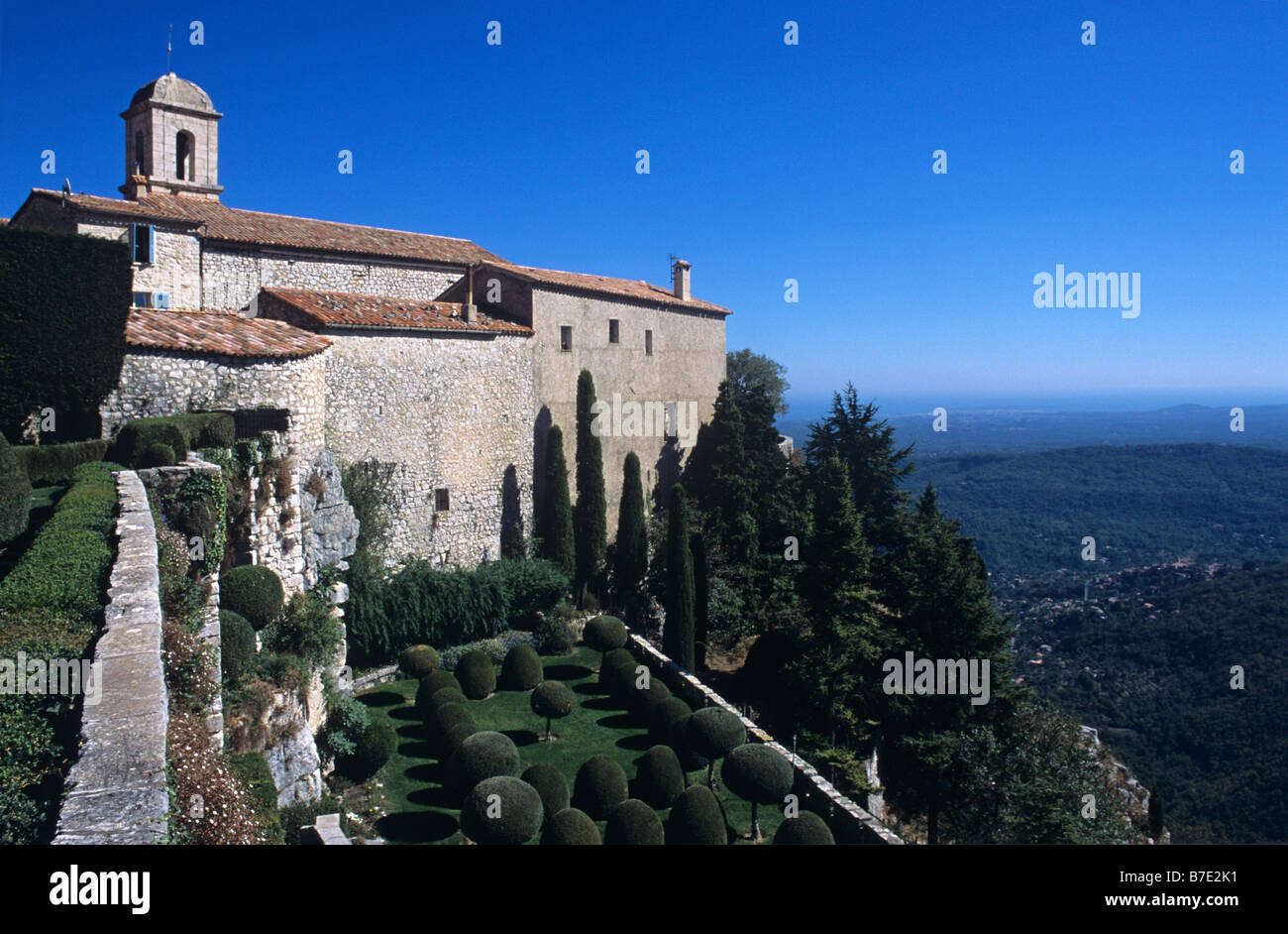 Church Formal Terrace Garden Of Gourdon Chateau With Topiary