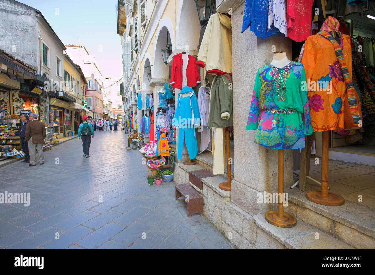 Shopfronts Corfu Town - Stock Image