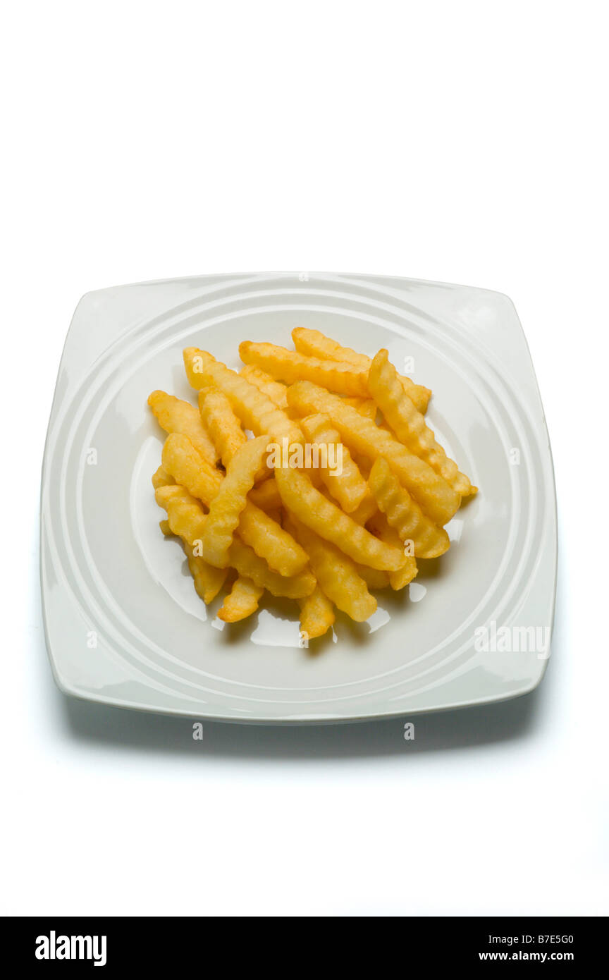 French Fries on white plate - Stock Image