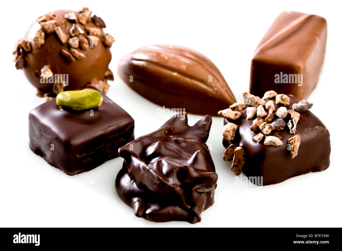 Handmade chocolate pieces - Stock Image