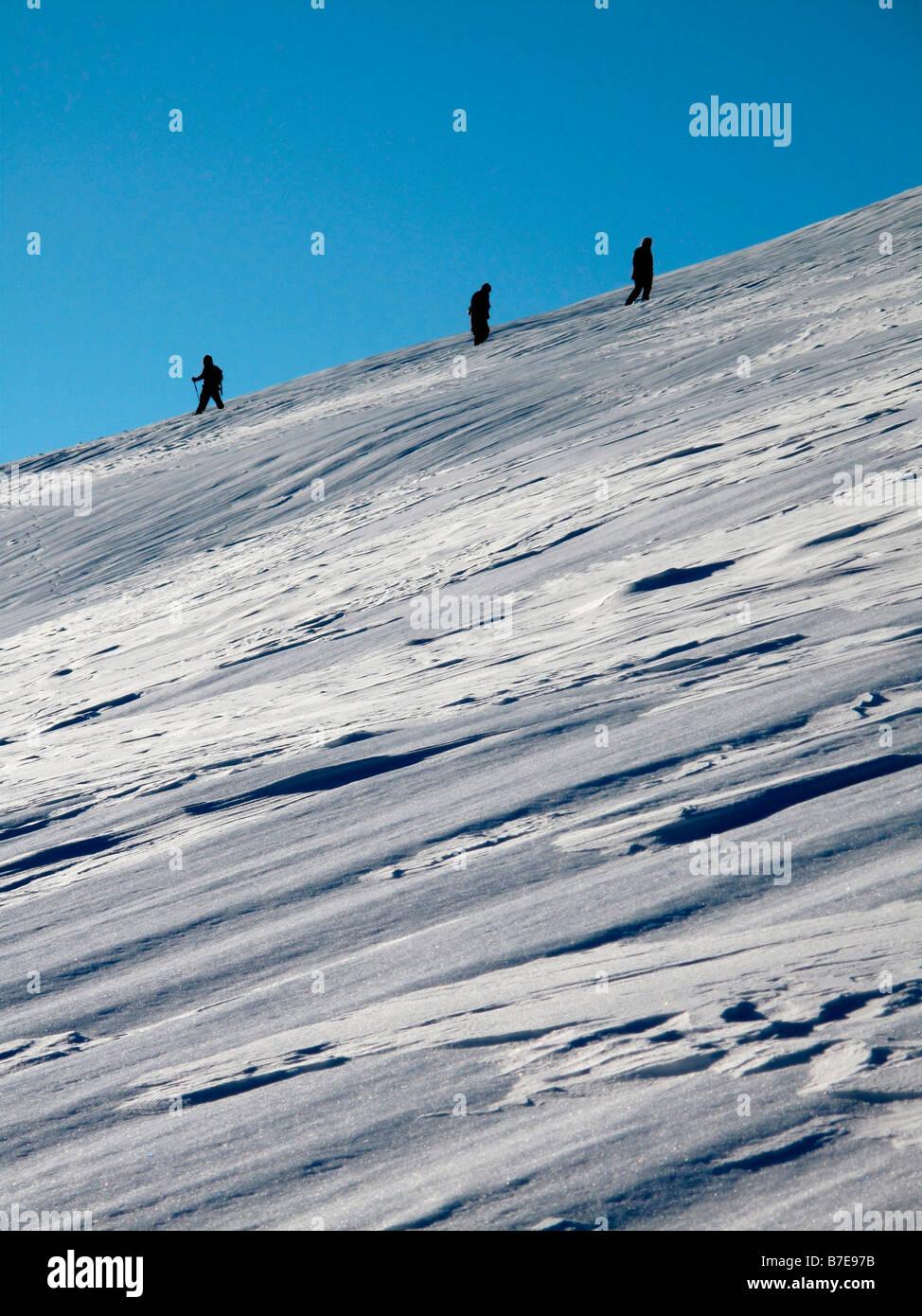 walkers acrossing snowfield - Stock Image