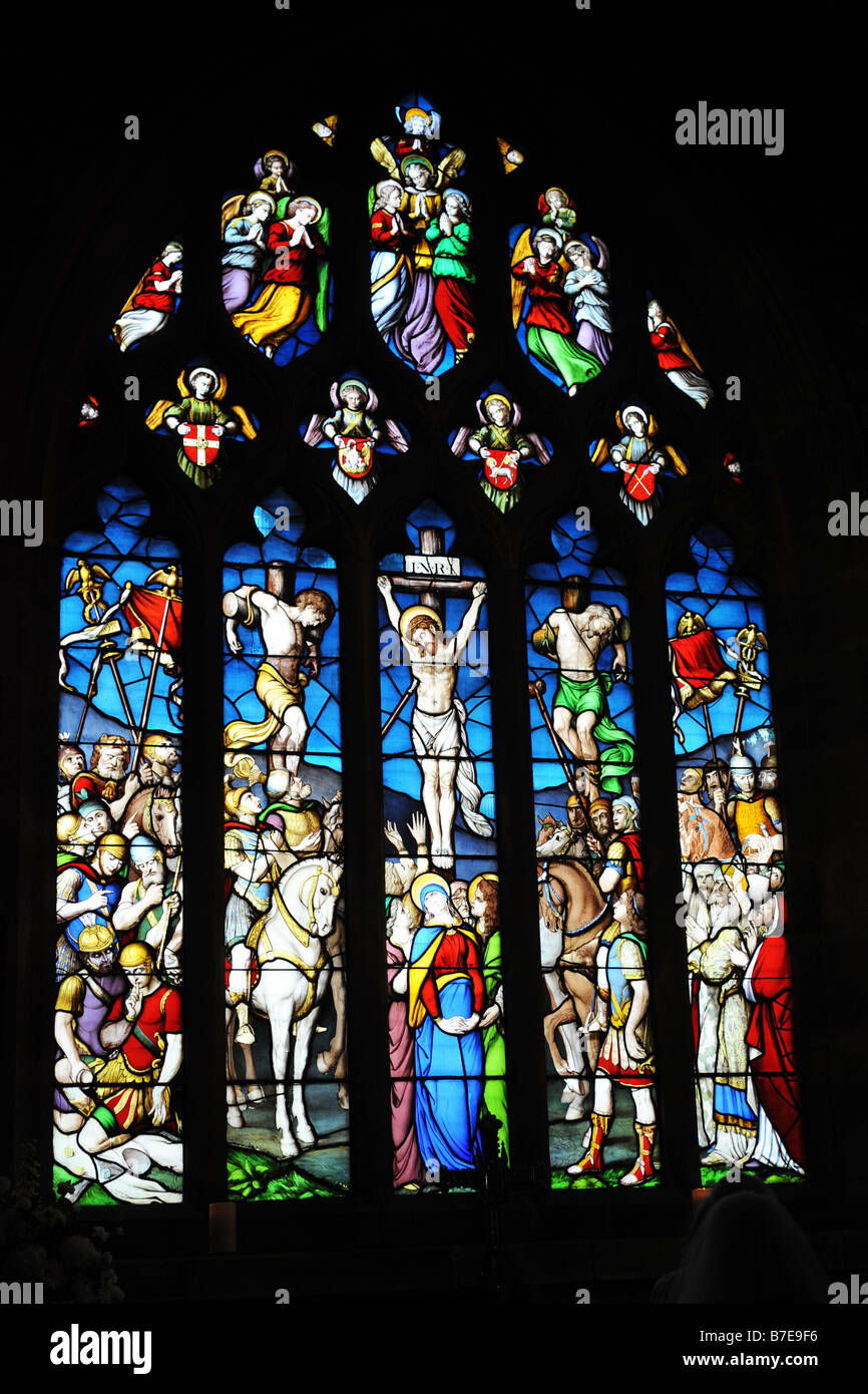 A Stained glass window in Ilkley Parish Church West Yorkshire - Stock Image