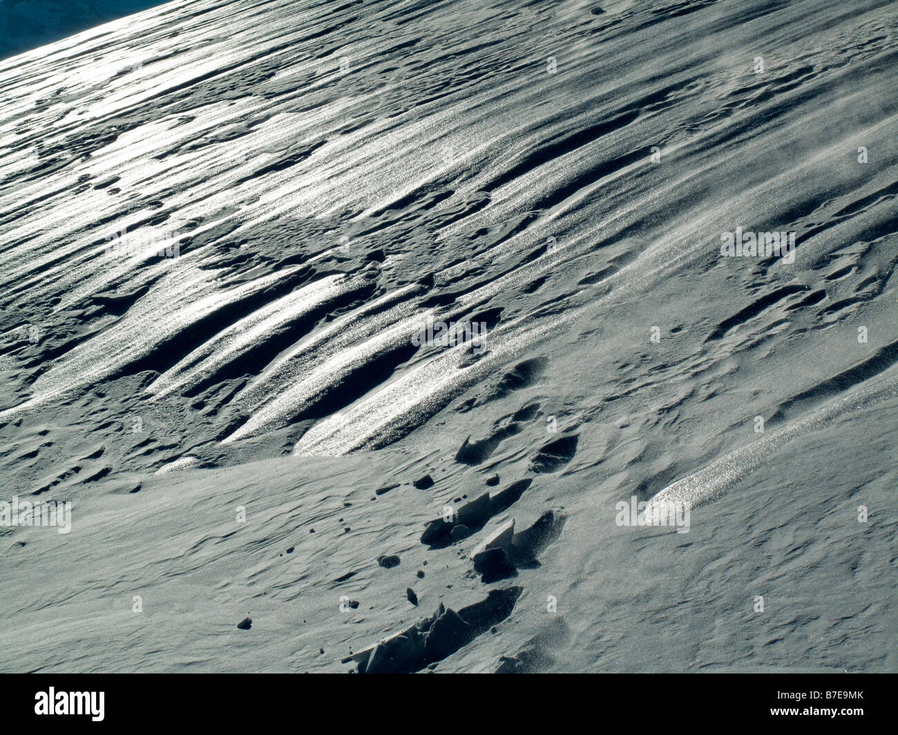 footprints of snowshoe hiker - Stock Image