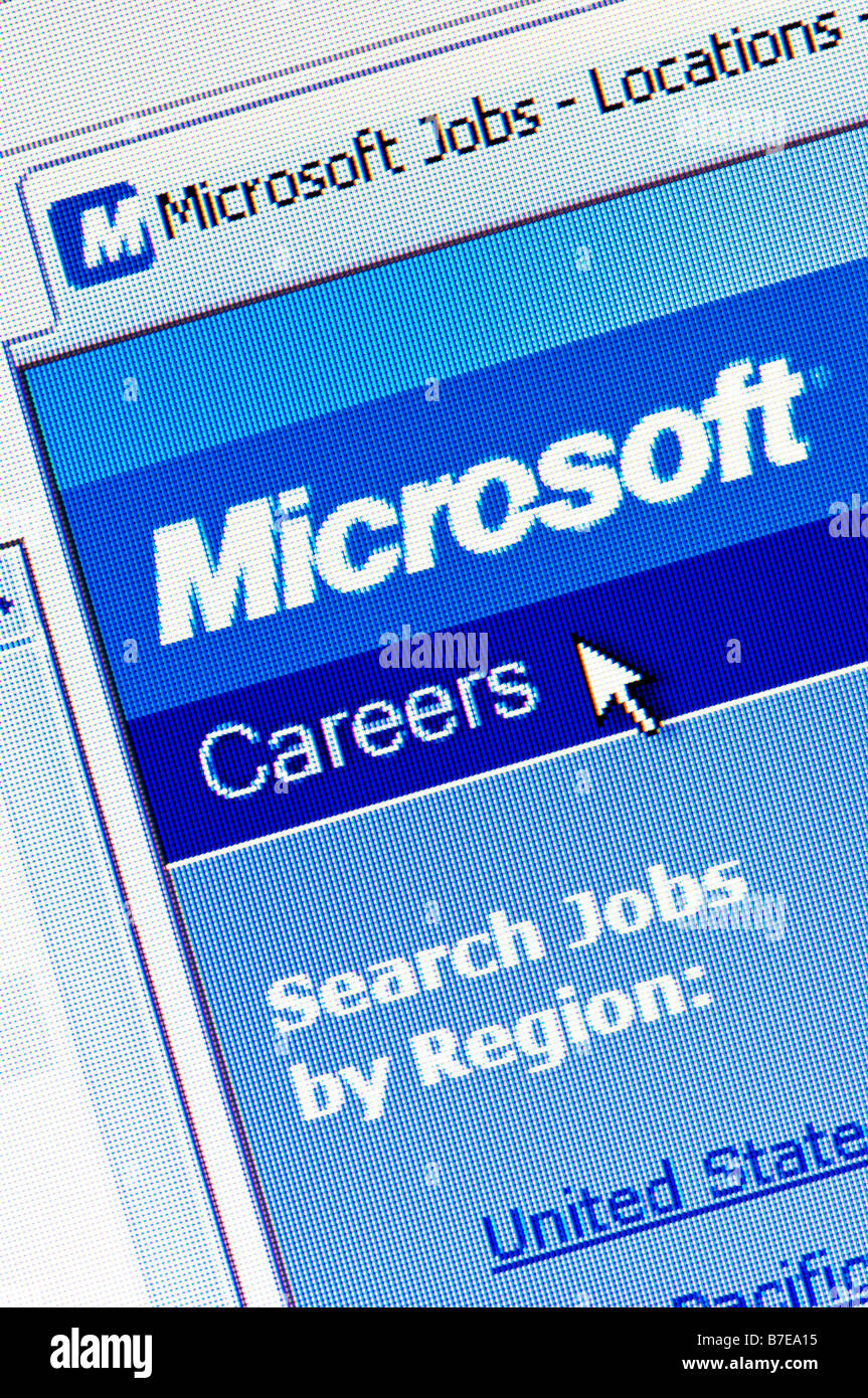 Macro screenshot of careers section of Microsoft website (Editorial use only) - Stock Image