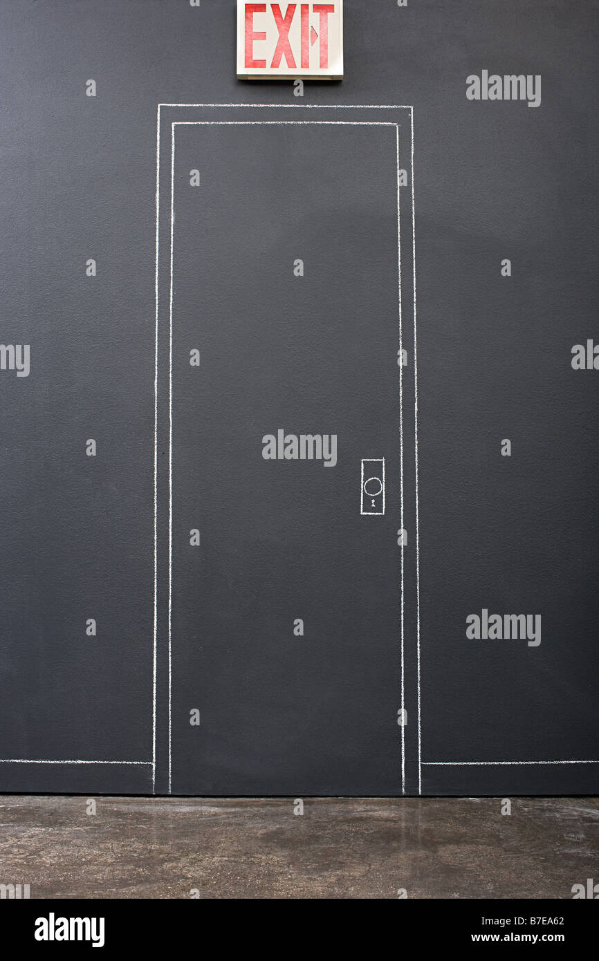 chalk drawing of a door stock photo 21828298 alamy