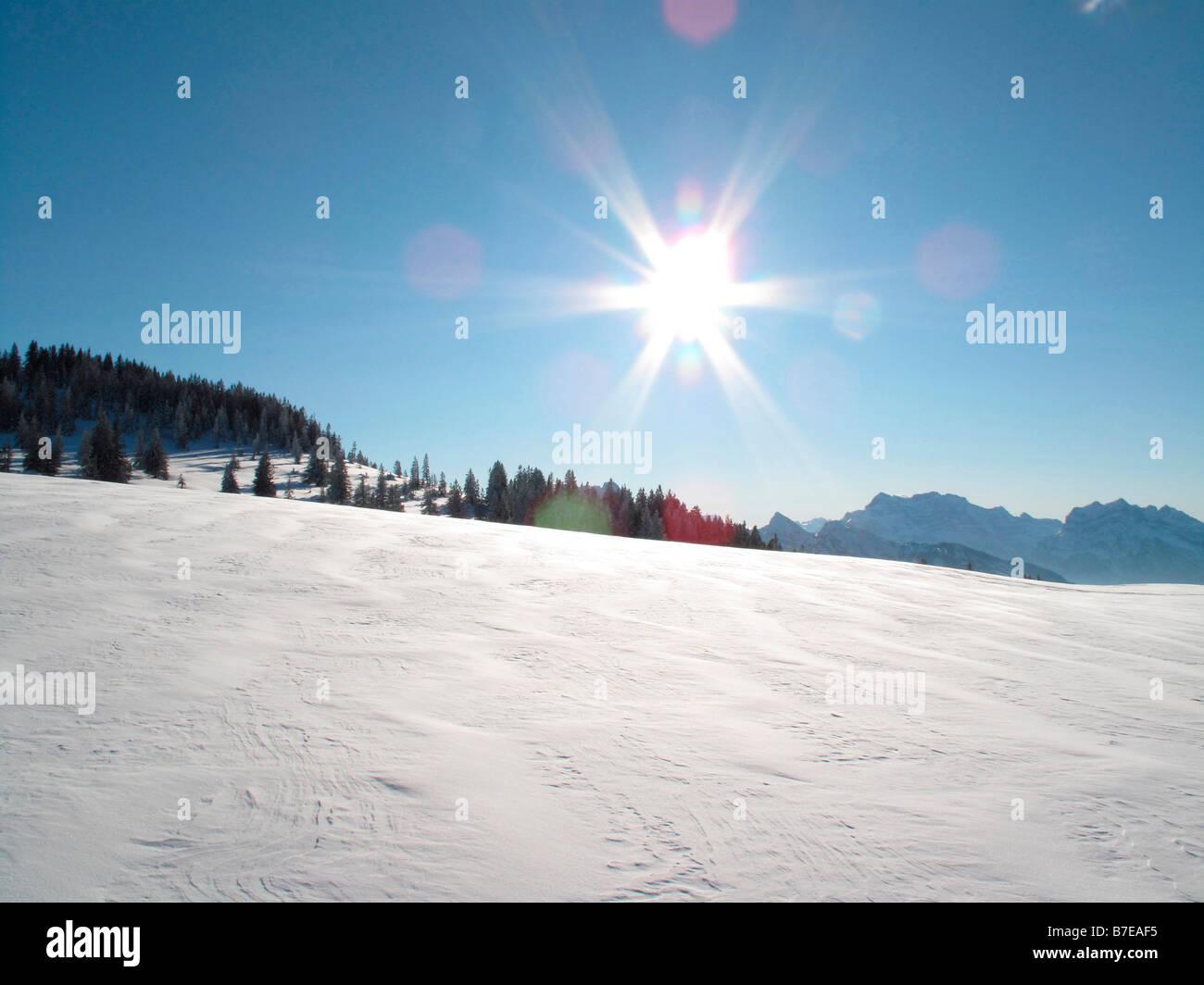 snowfield swiss alpes switzerland - Stock Image
