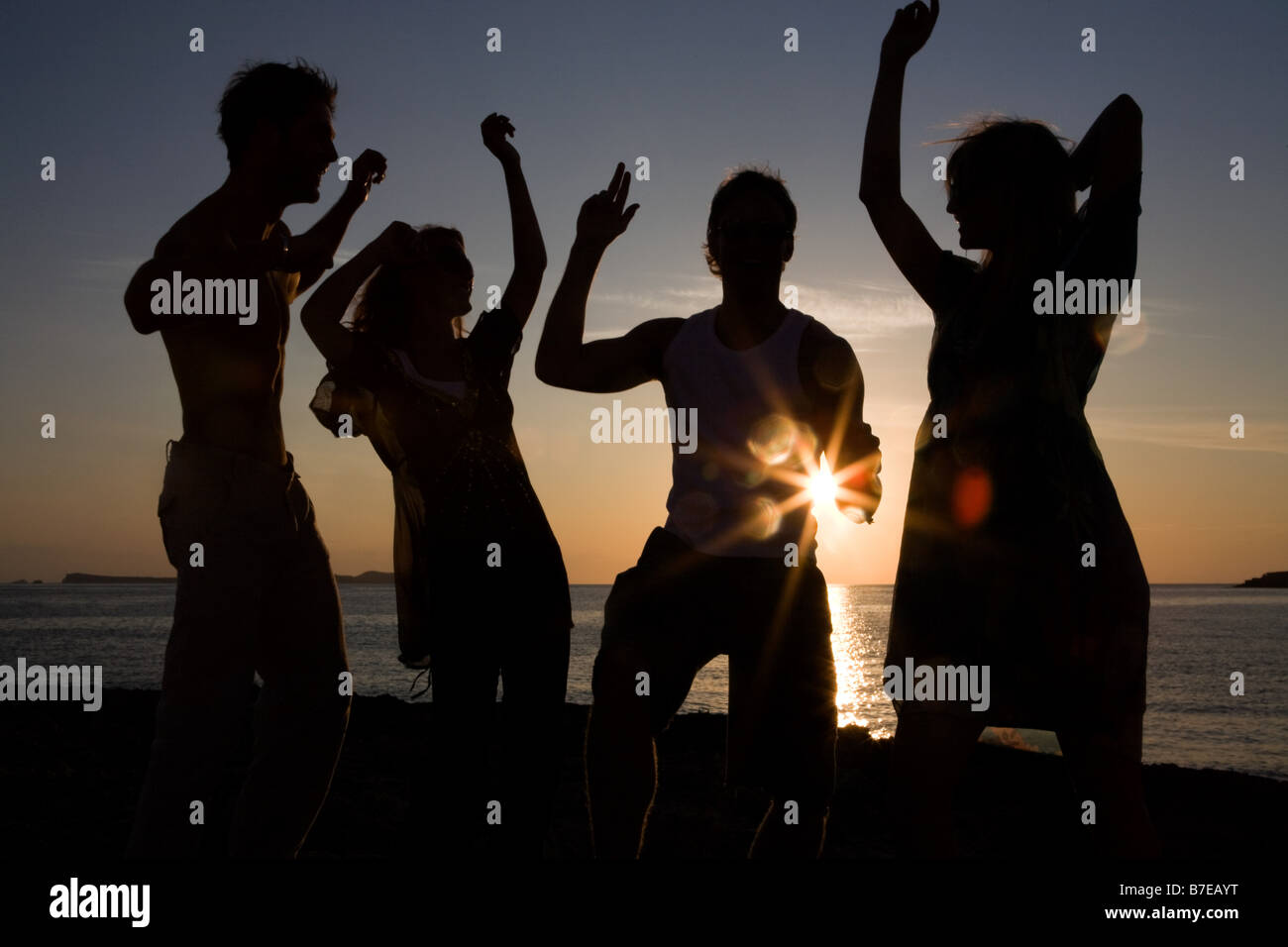 Friends partying on beach - Stock Image