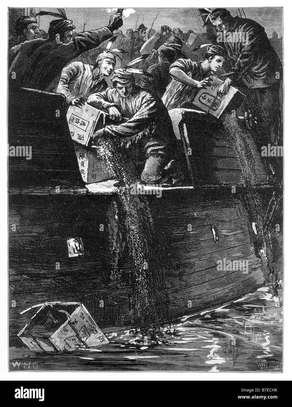 Pouring the Tea into The Harbour Boston Tea Party Boston Massachusetts USA 1773 - Stock Image