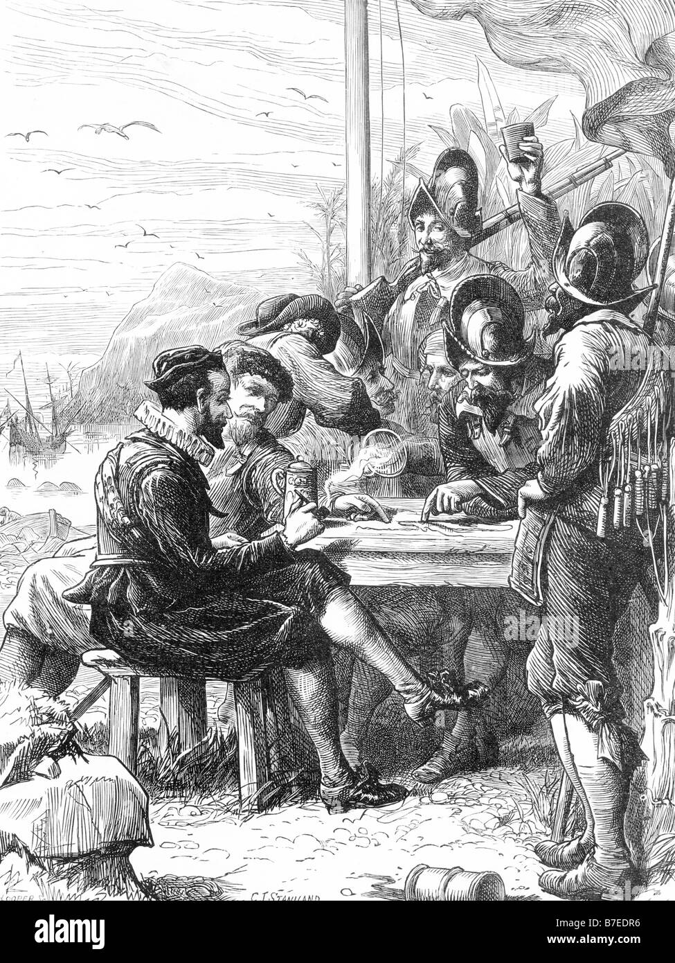 Sir Walter Raleigh at Trinidad Getting Information from the Spanish Soldiers Regarding Guyana 1595 - Stock Image