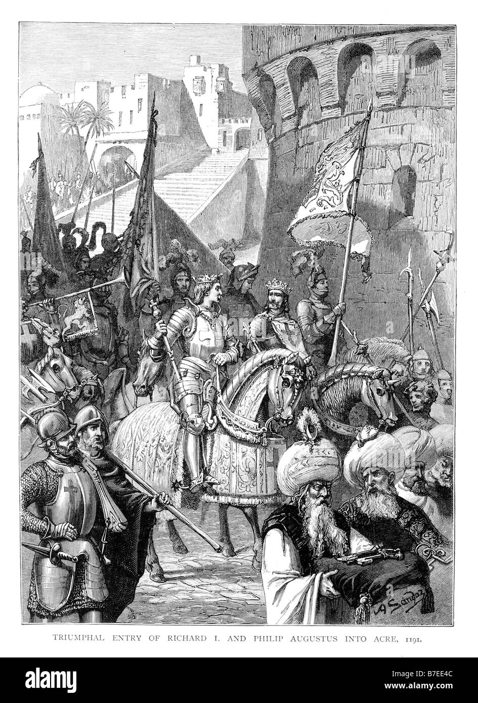 Triumphal Entry of Richard I and Philip Augustus into Acre 1191  Illustration - Stock Image