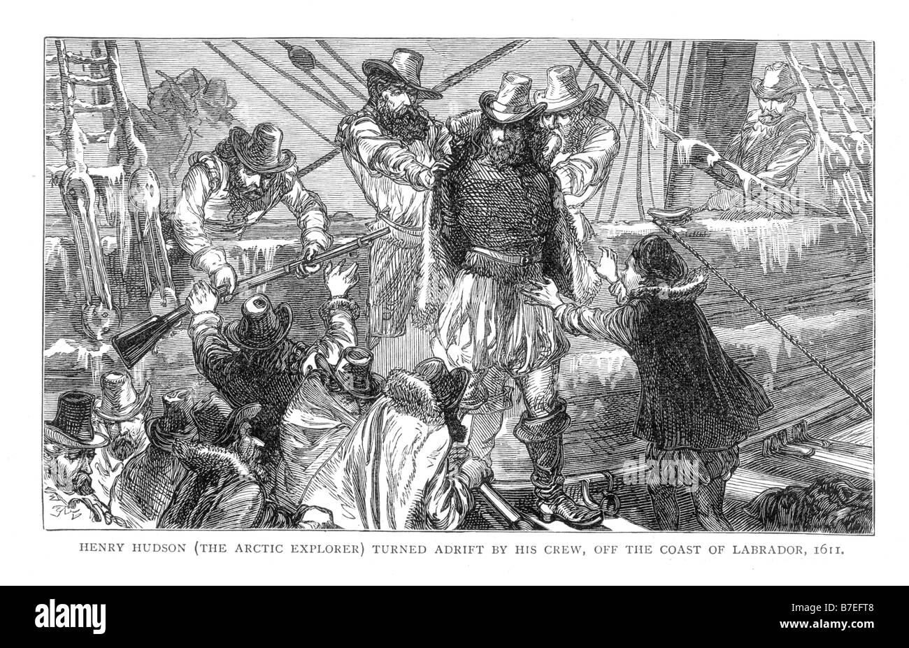 Henry Hudson the Arctic Explorer Turned Adrift by his Crew off the Coast of Labrador 1611 19th Century Illustration - Stock Image