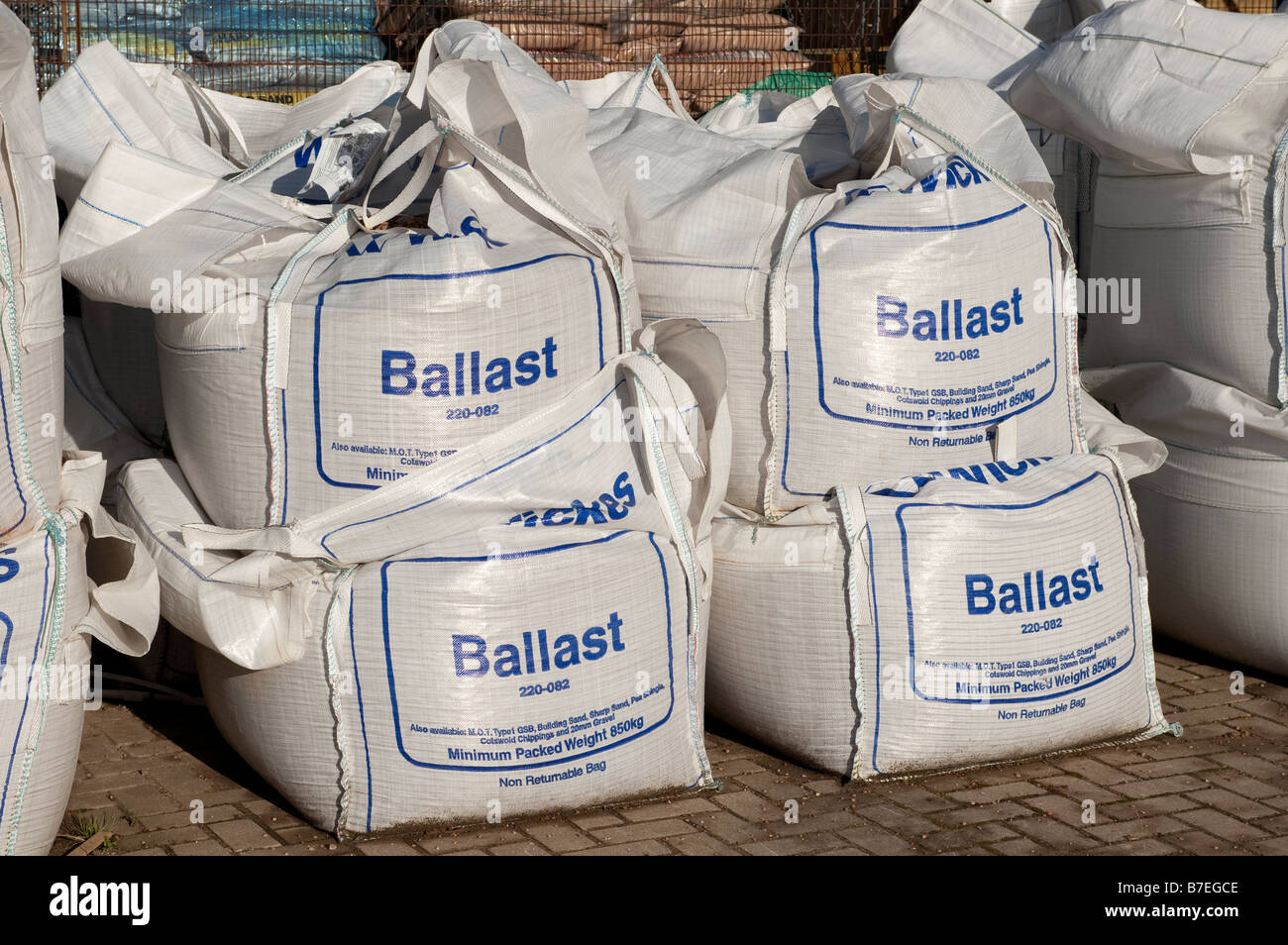 Large sacks filled with ballast - Stock Image