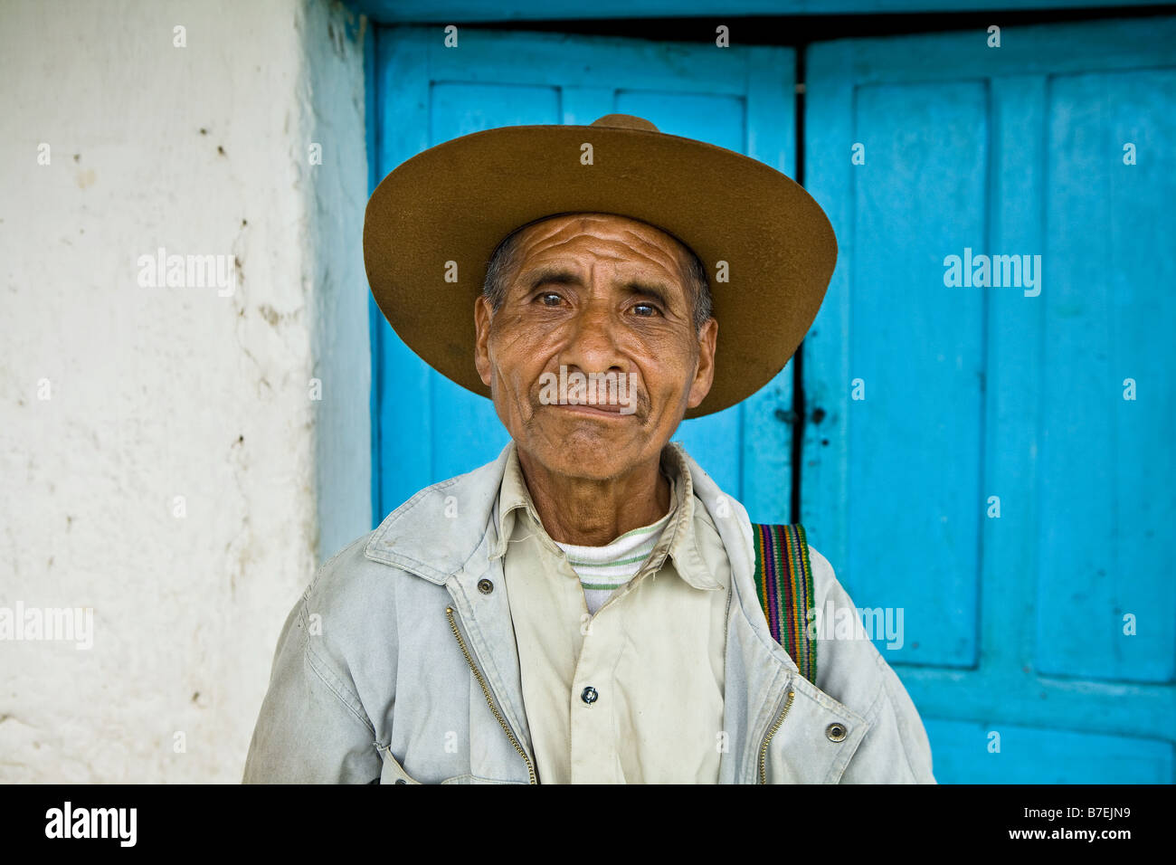Portrait of Guatemalan man Nebaj Western Highlands Guatemala - Stock Image