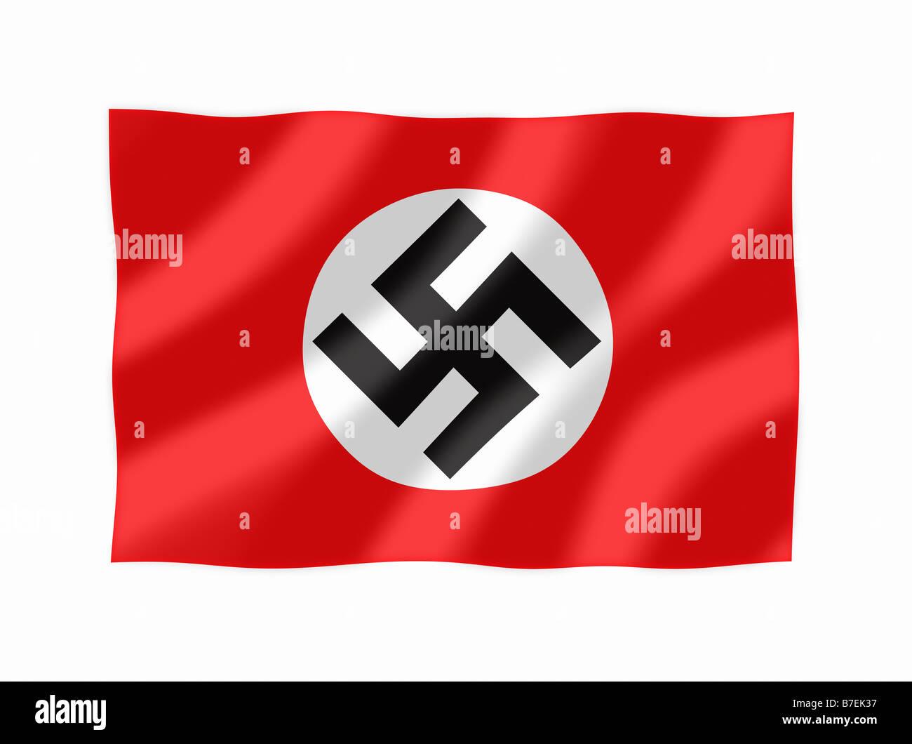 Nazi Flag Waving - Stock Image