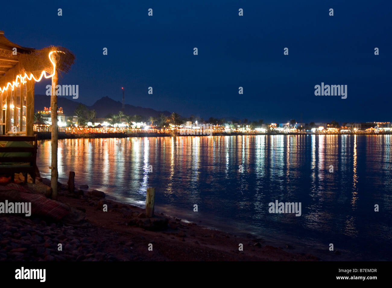 dahab waterfront at night in Egypt - Stock Image