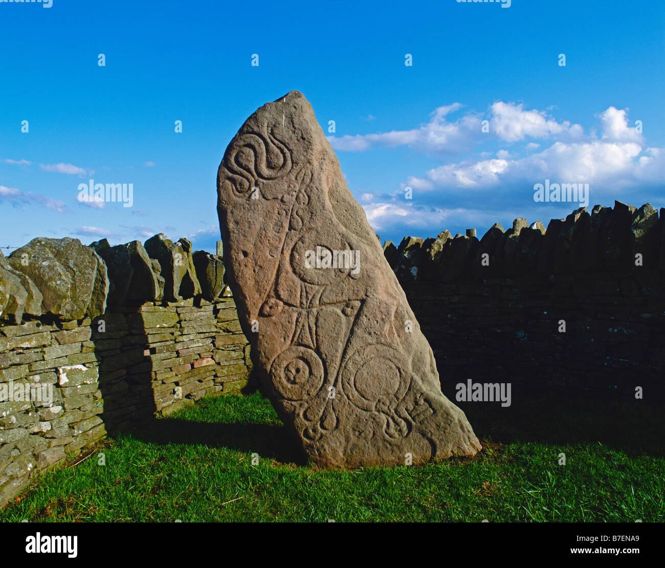 Aberlemno I (The Serpent Stone), Aberlemno, Scotland, UK. A Pictish symbol stone dating from the seventh century AD Stock Photo