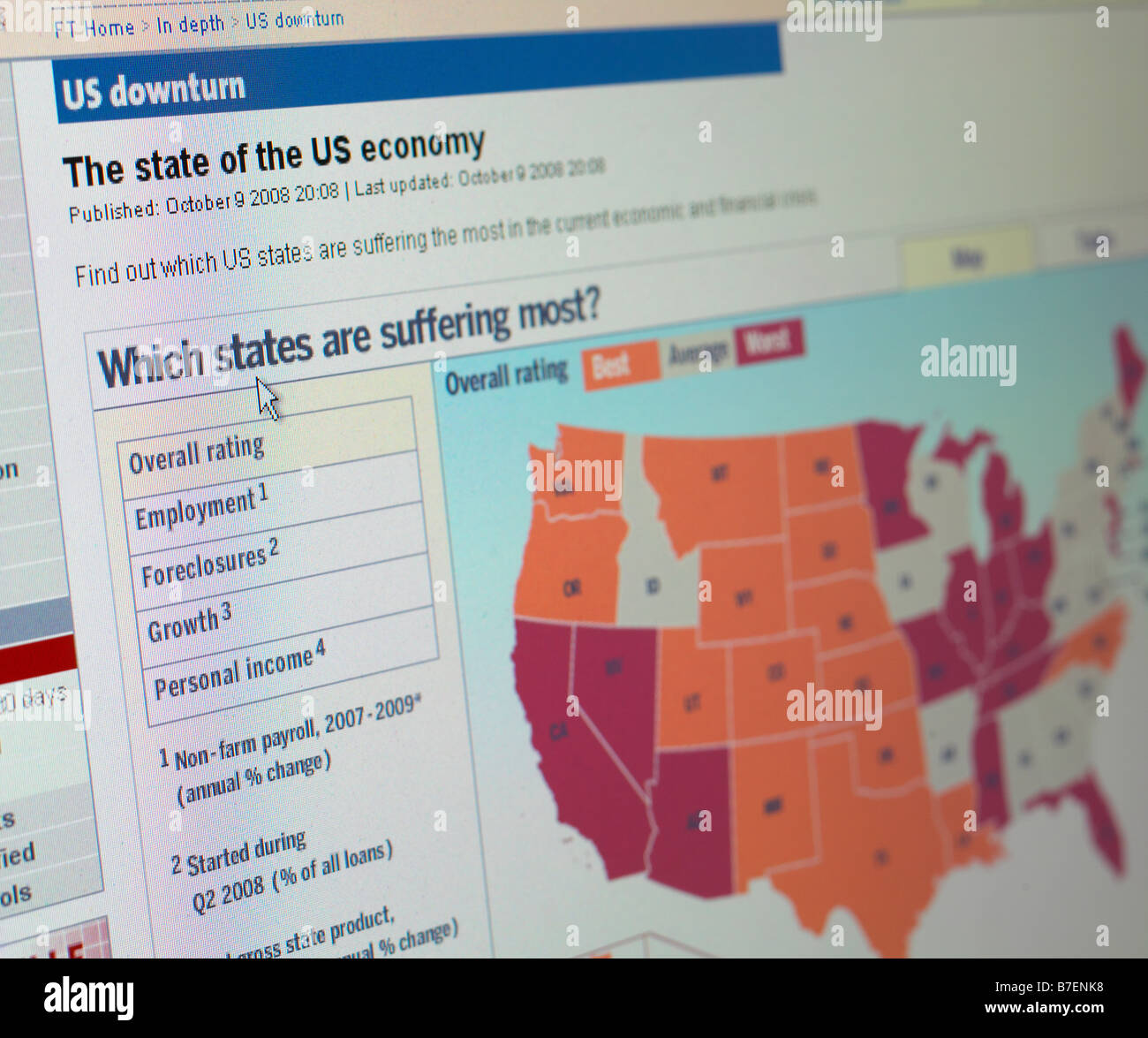 WEB SITE US ECONOMY DOWNTURN - Stock Image