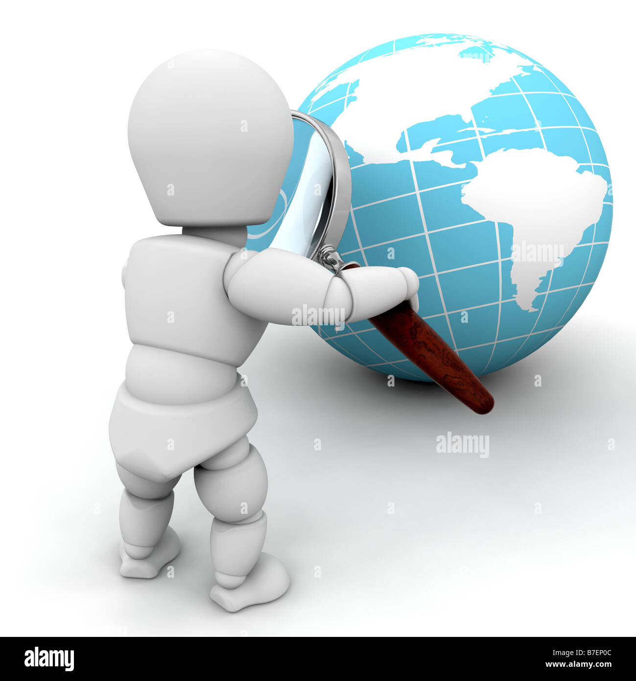 3D render of someone looking at a globe through a magnifying glass - Stock Image