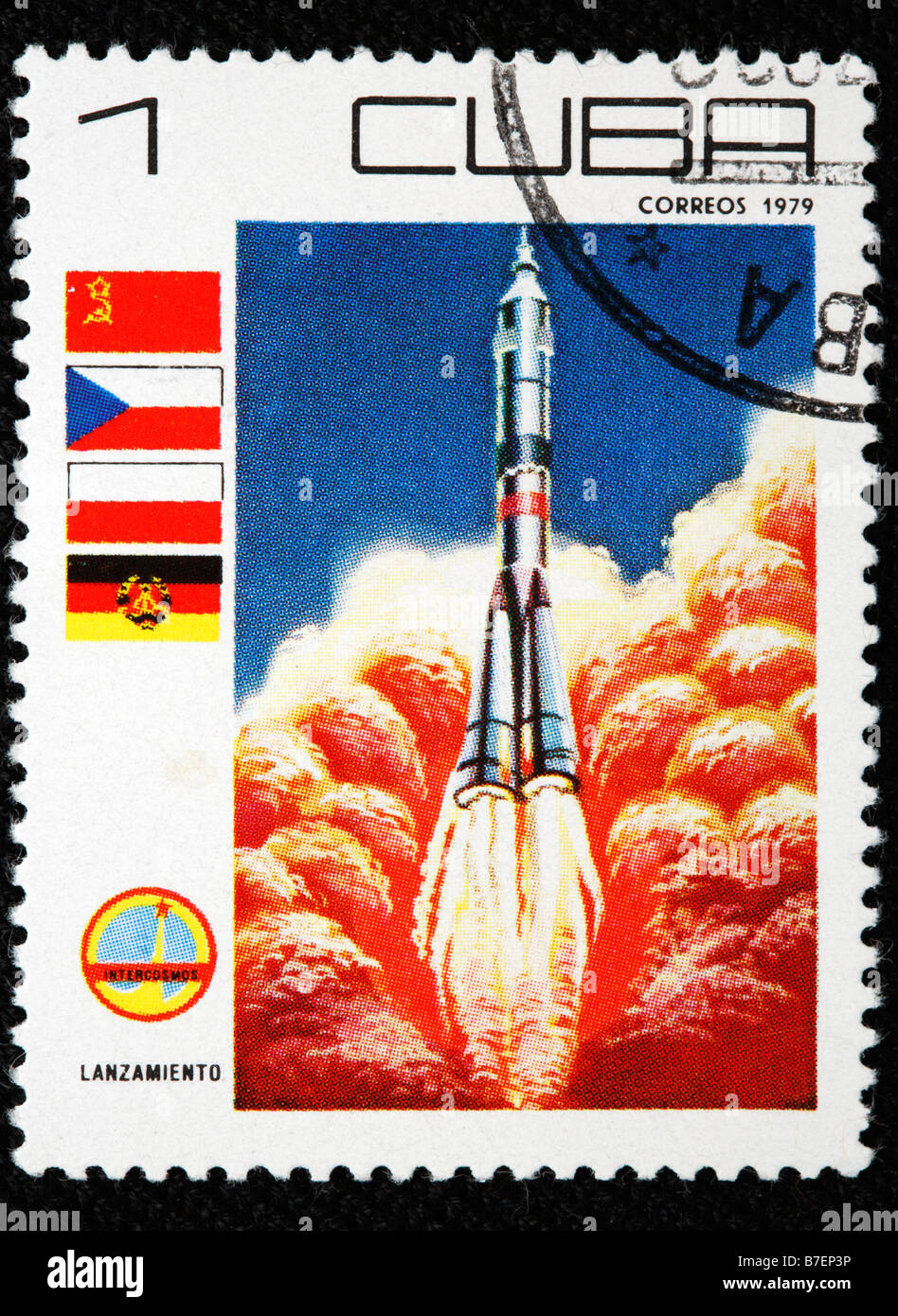 Launch of space rocket, postage stamp, Cuba, 1979 - Stock Image