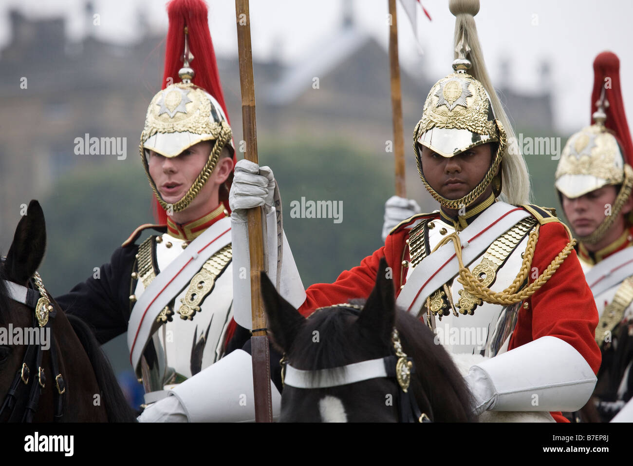 British Mounted Armed Forces, the Musical Ride of the Household Cavalry Regiment display, Chatsworth Country Park, - Stock Image