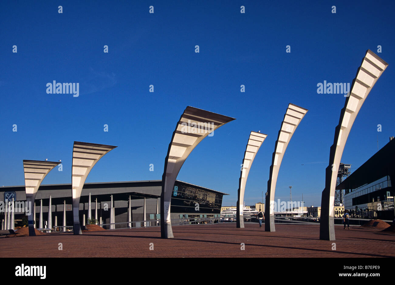 Contemporary Street Lamps or Sculpture and Promenade, Port Vell, Barcelona, Spain - Stock Image