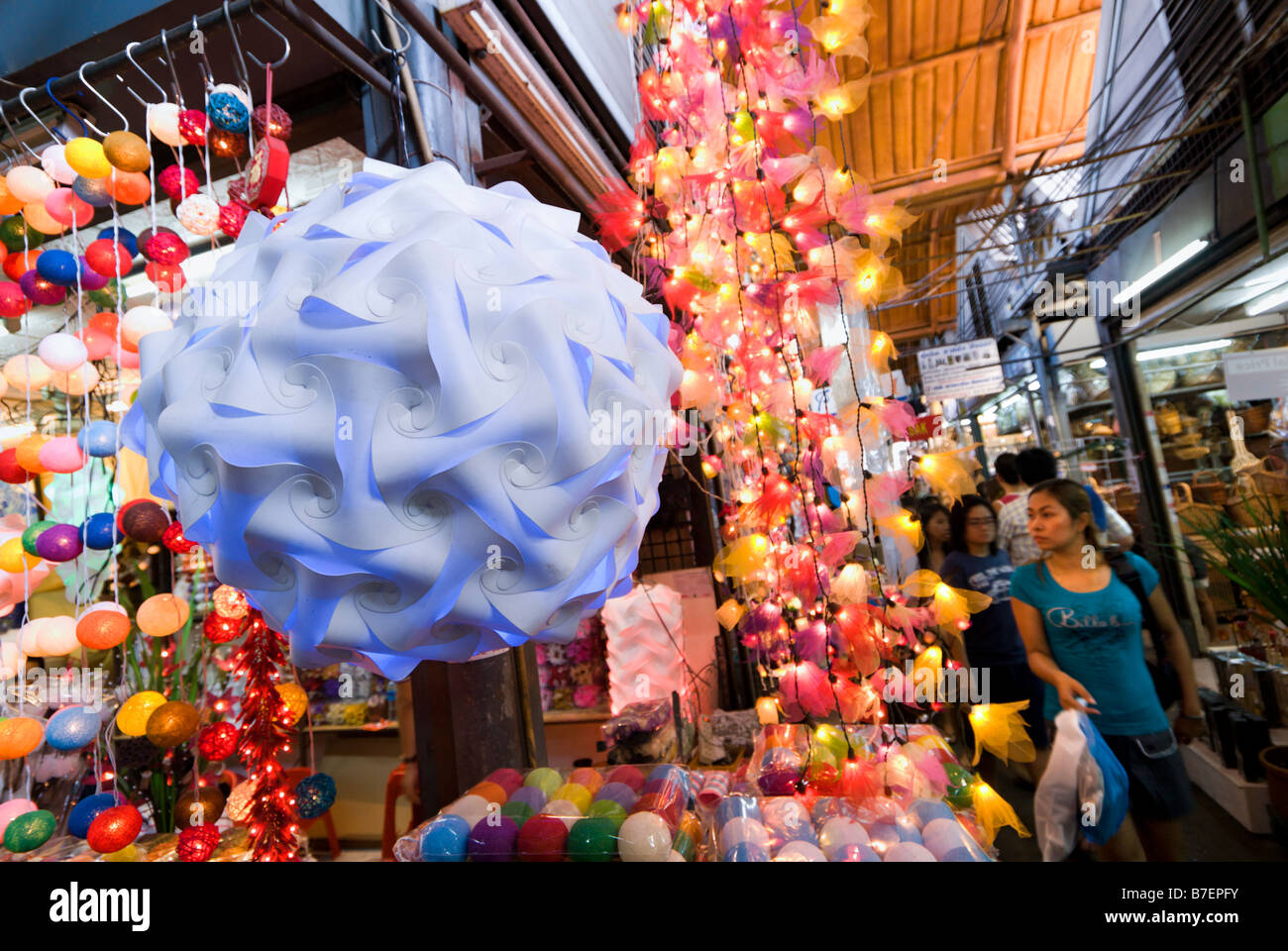 Fairy light stall at Chatuchak Weekend Market in Bangkok Thailand - Stock Image