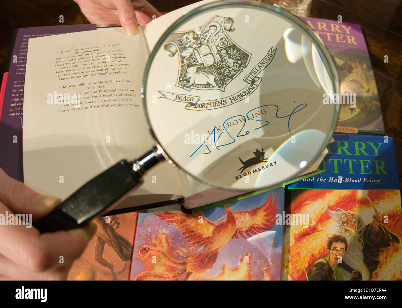 Autographed copy of Harry Potter novel part of a set donated by Author J.K. Rowling o an auction that will benefit - Stock Image