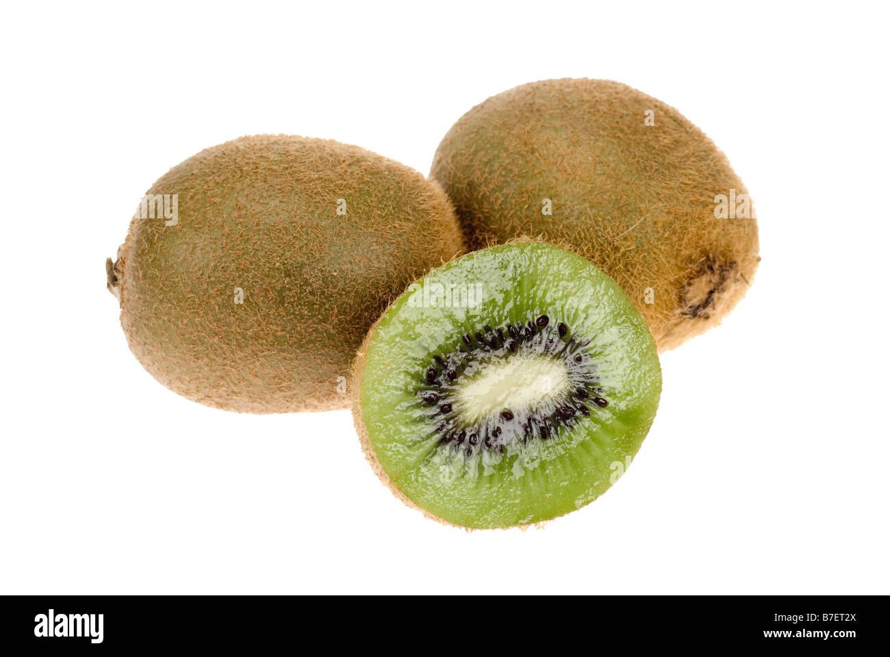 fresh kiwi isolated on a white background - Stock Image