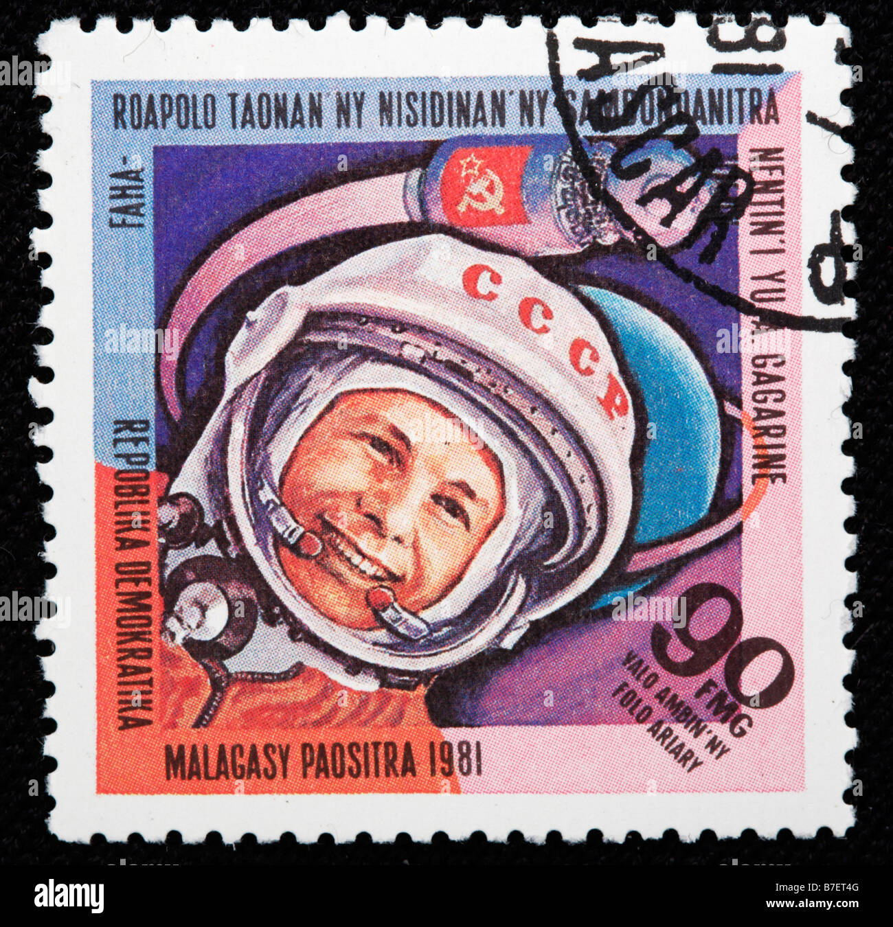 First flight into space by Yuri Gagarin, postage stamp, Malagasy, 1981 - Stock Image