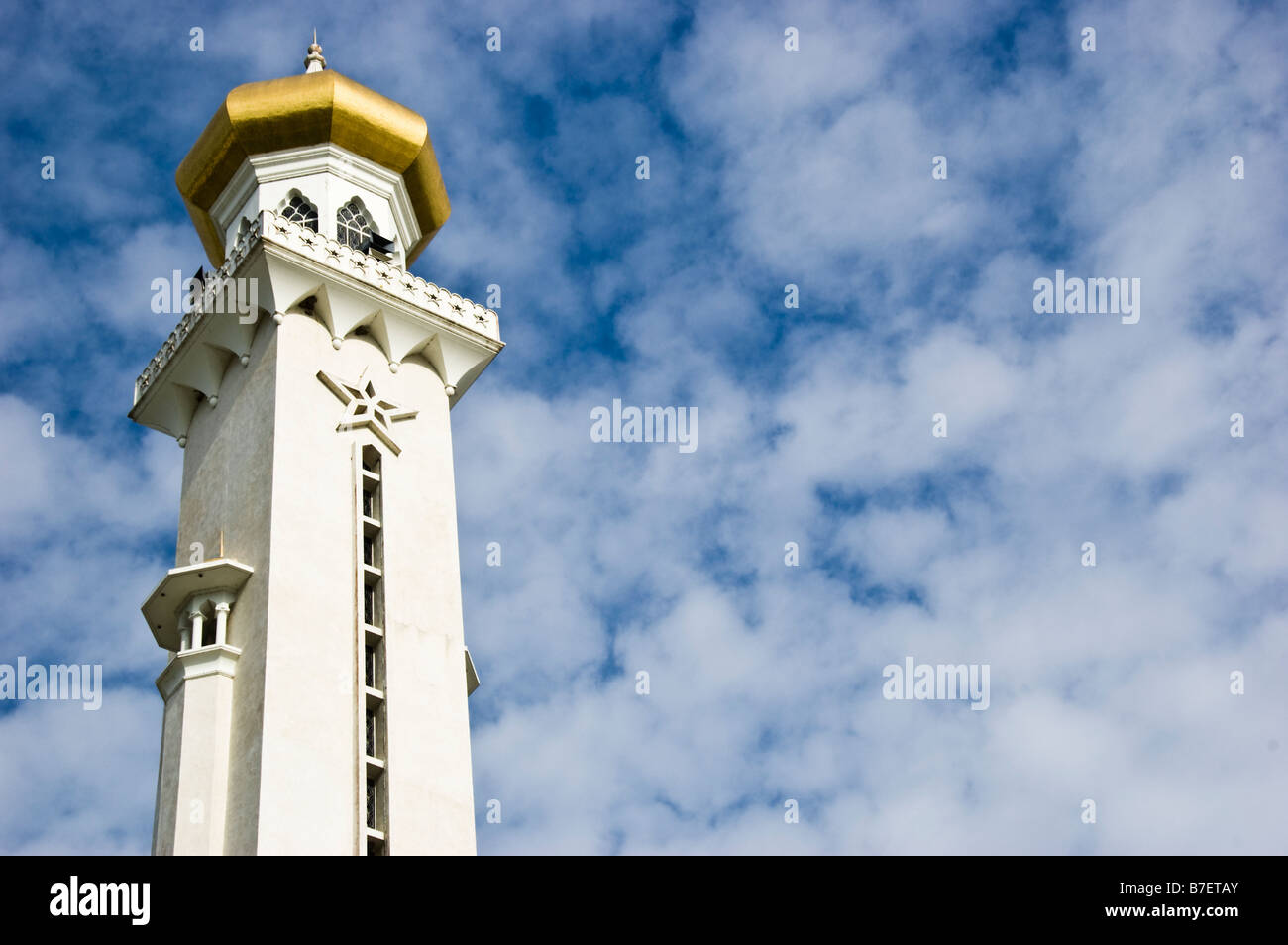 Minaret of Sultan Omar Ali Saifuddin Mosque, Bandar Seri Begawan, Brunei - Stock Image