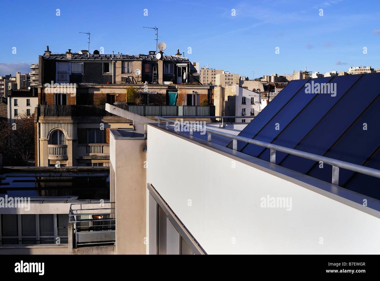 Paris France, Exterior Roof top View of Paris 'Renewable Energy' Apartment Building 'Council Estate' - Stock Image