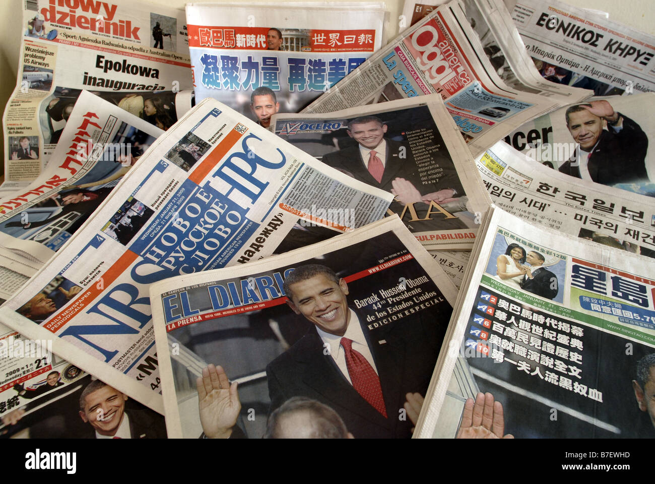 Ethnic newspapers in New York cover the inauguration ceremonies of Barack Obama - Stock Image