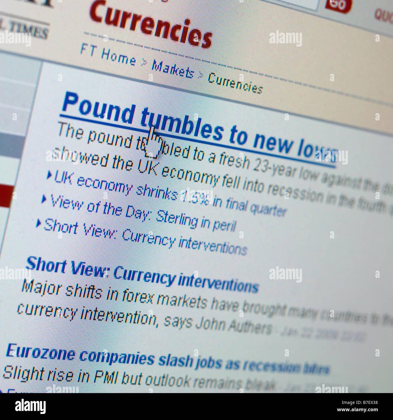 WEB SITE SCREEN UK ECONOMY ECONOMIC DOWNTURN - Stock Image
