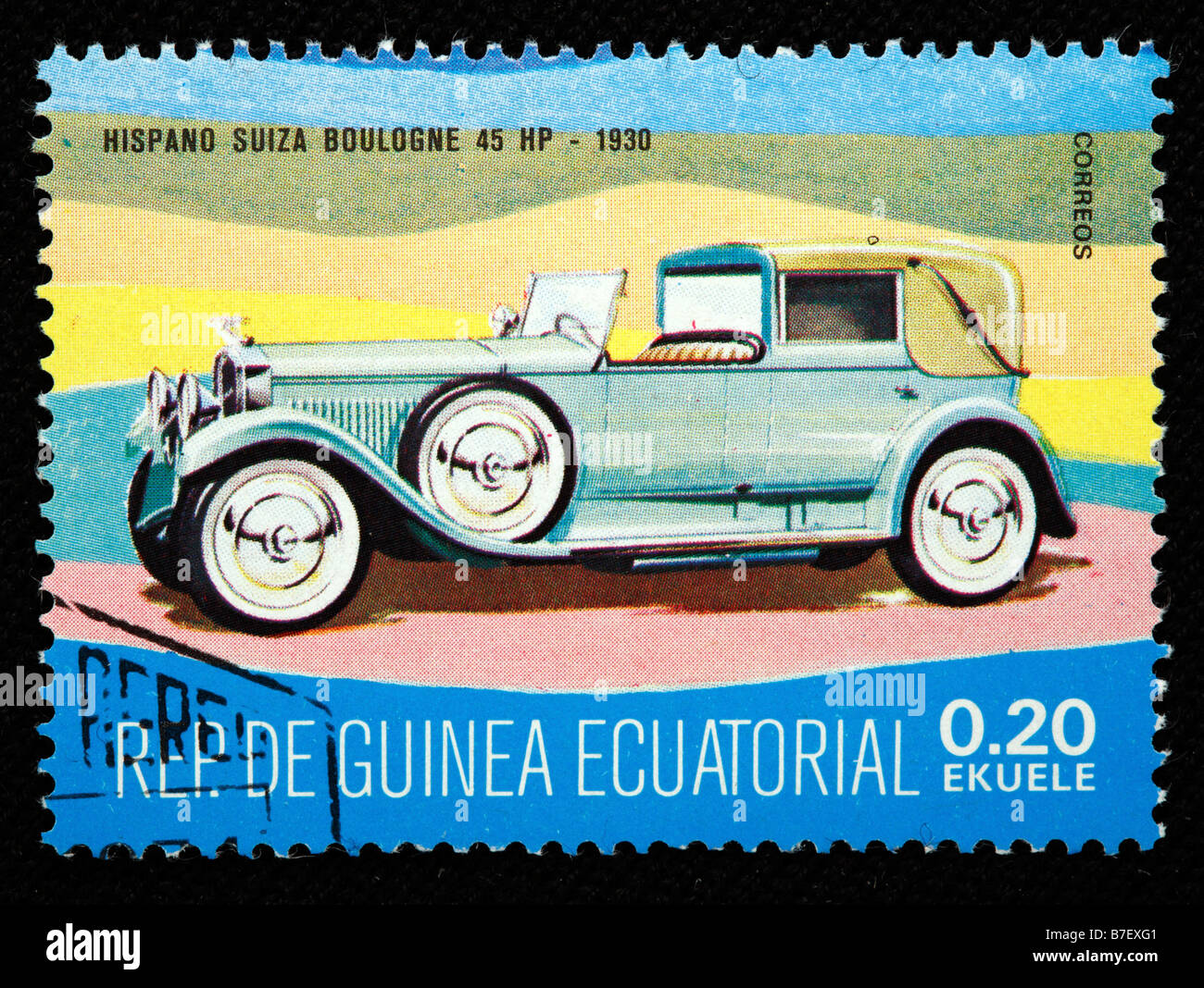 History of transport, car Hispano Suiza Boulogne 45 HP (1930), postage stamp, Equatorial Guinea - Stock Image