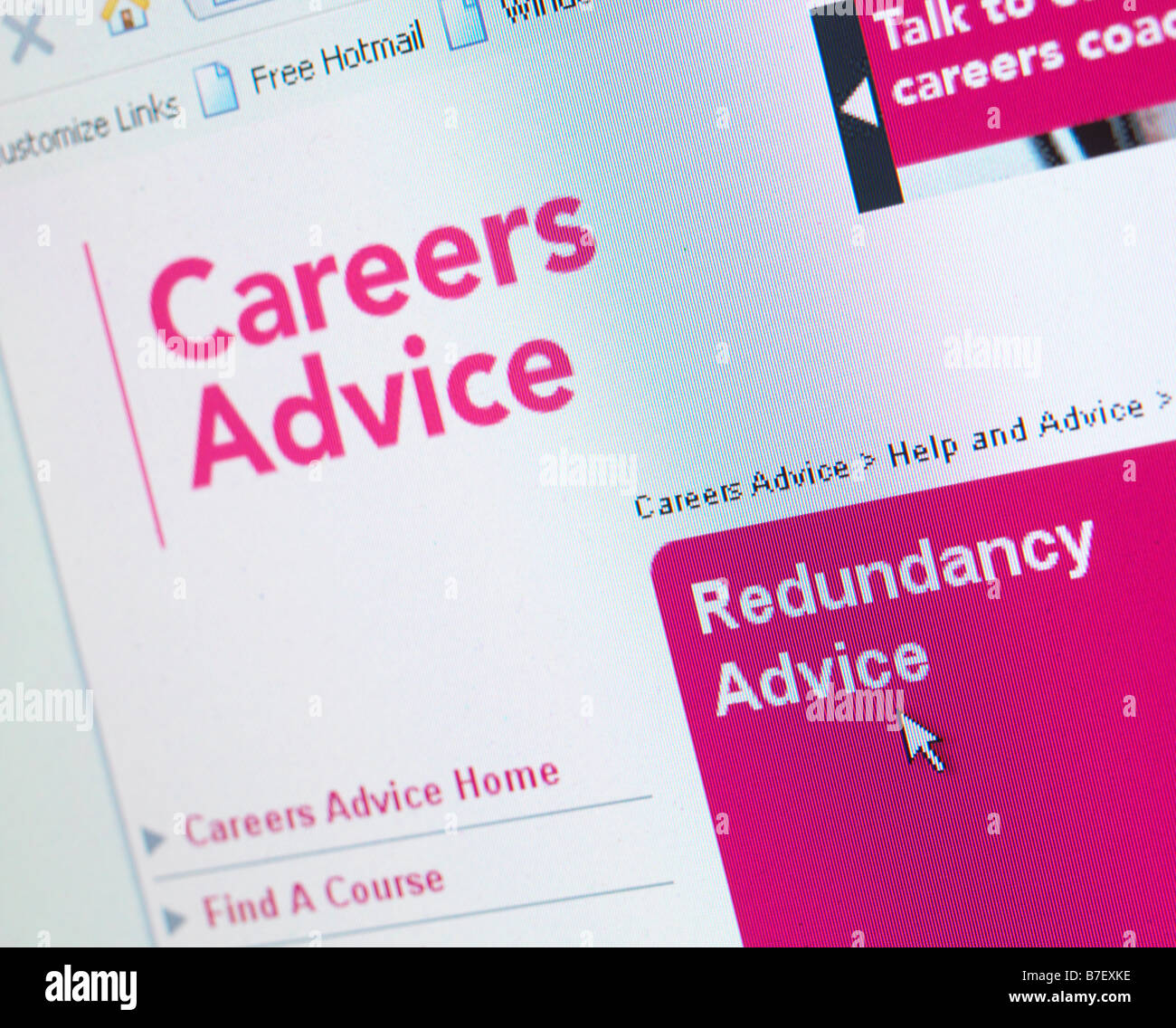WEB SITE UK JOB REDUNDANCY ADVICE HELP - Stock Image