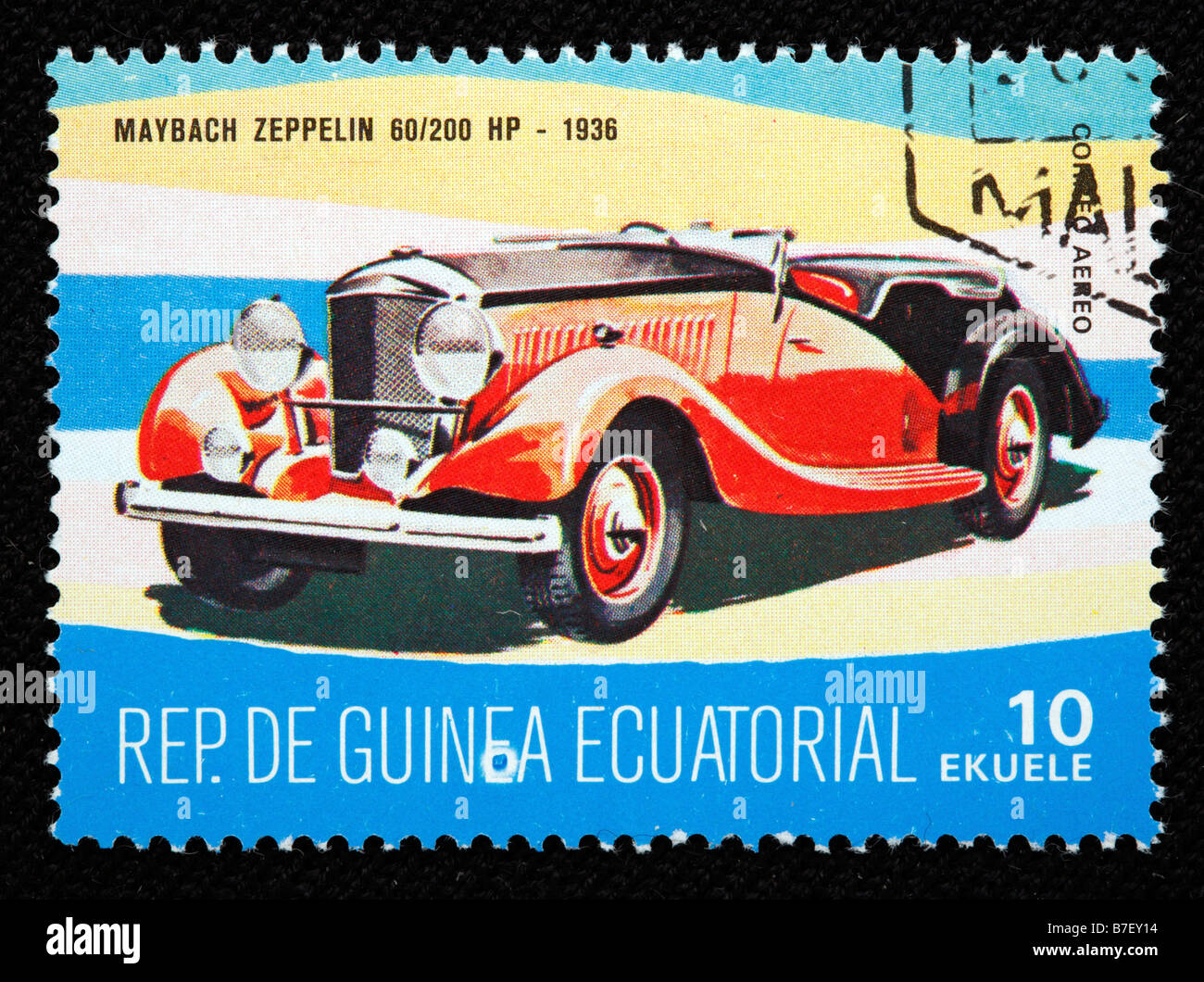 History of transport, car Maybach Zeppelin 60 200 HP (1936), postage stamp, Equatorial Guinea - Stock Image