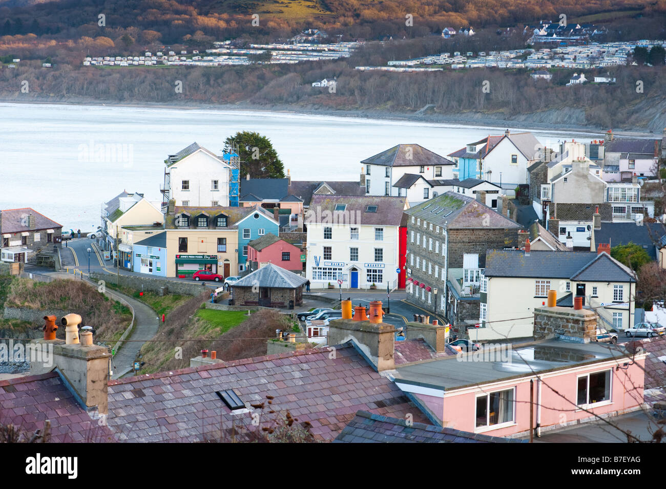 New Quay Ceredigion Wales UK, small village on the Cardigan Bay coast in the winter - Stock Image