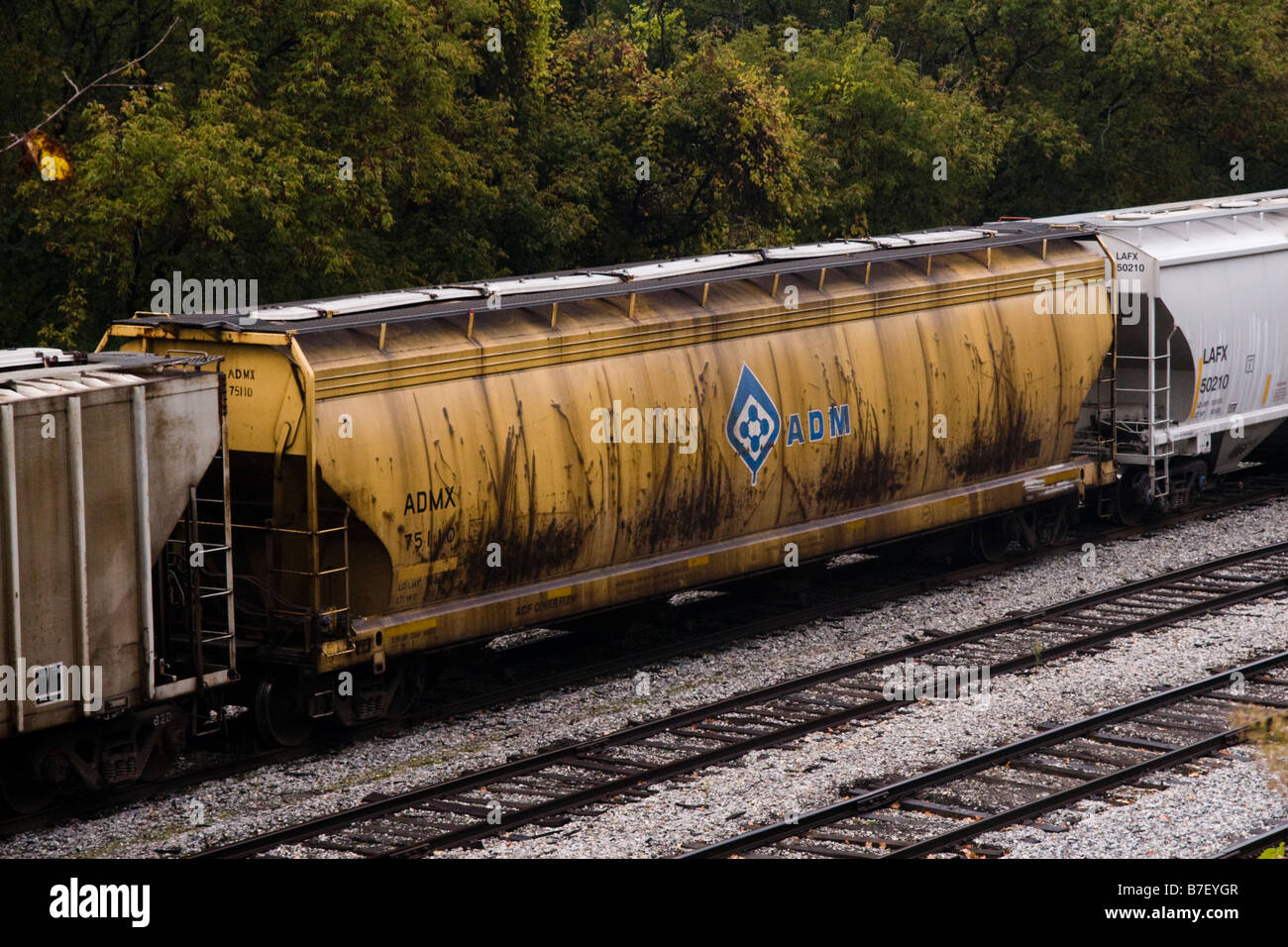 ADM Freight car parked in rail yard at White River Junction Vermont VT United States of America USA Stock Photo