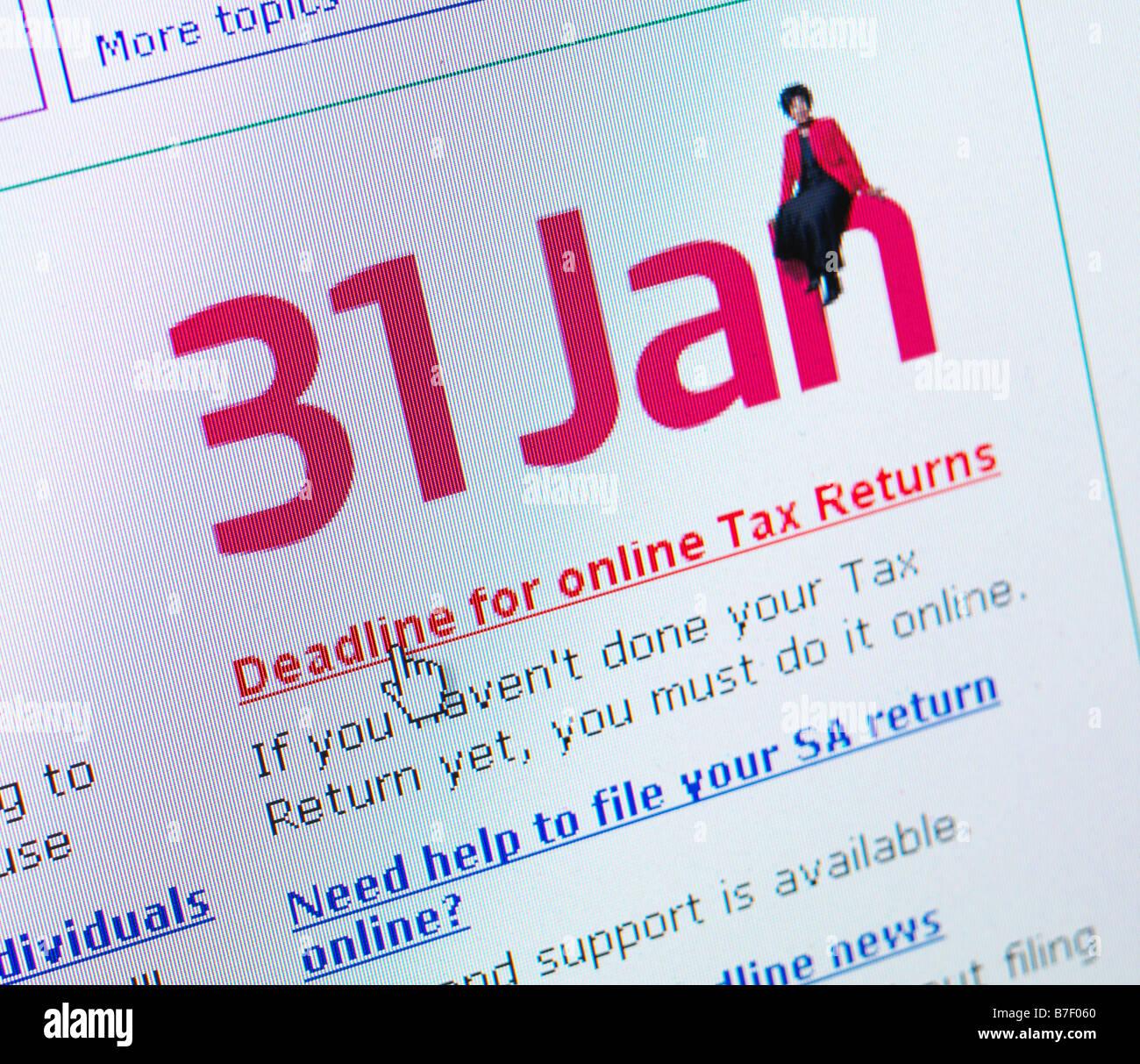 INLAND REVENUE JANUARY 31 TAX RETURN DEADLINE SELF ASSESSMENT - Stock Image