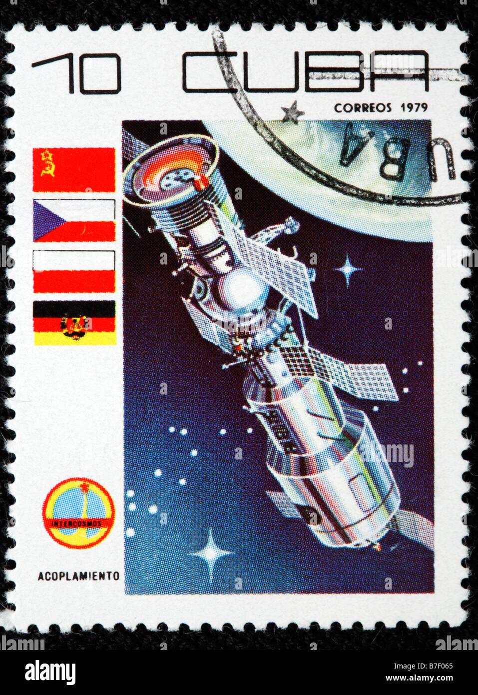Soviet space orbital station, postage stamp, Cuba, 1979 - Stock Image