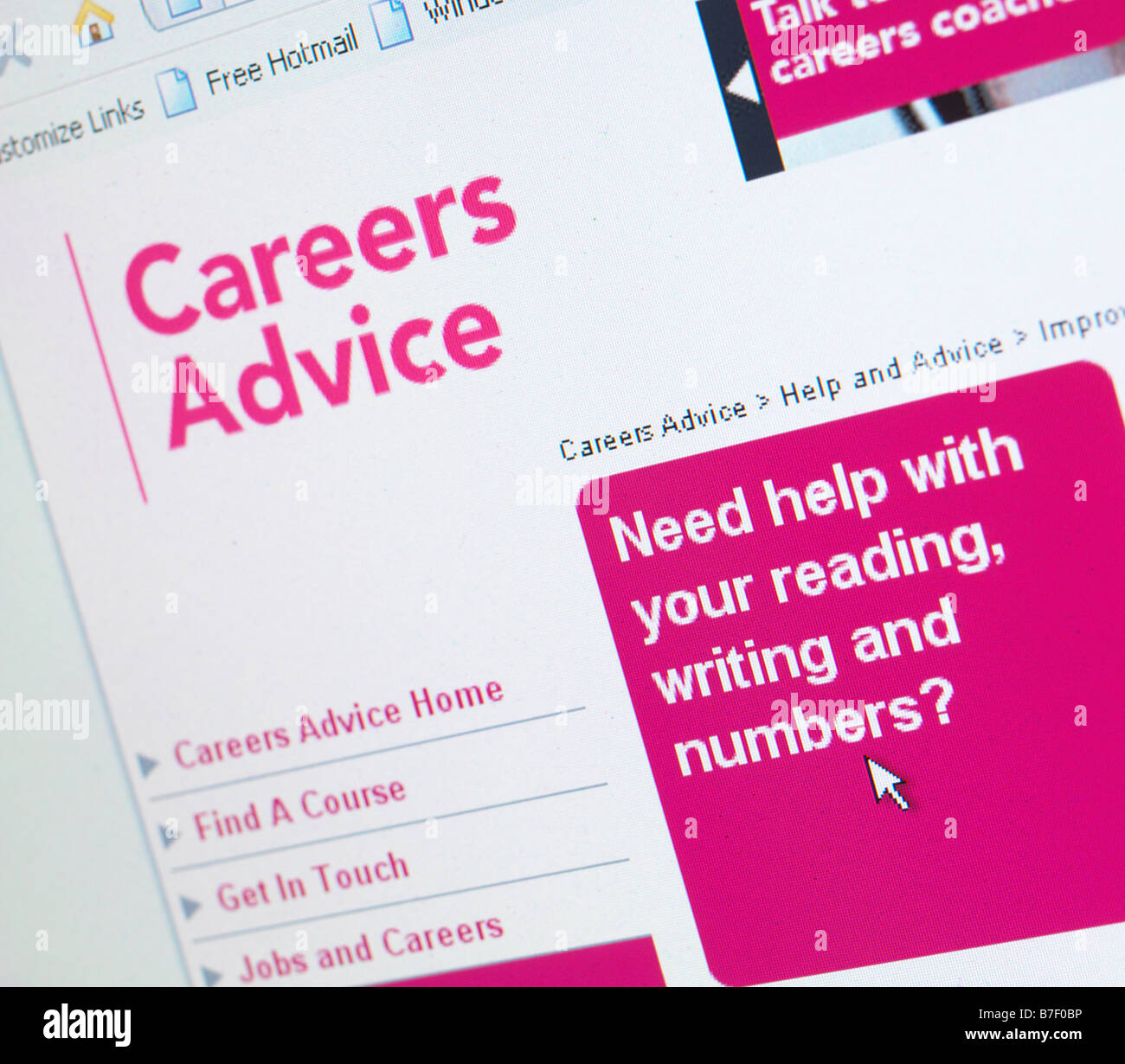 WEB SITE UK JOB CAREERS ADVICE - Stock Image
