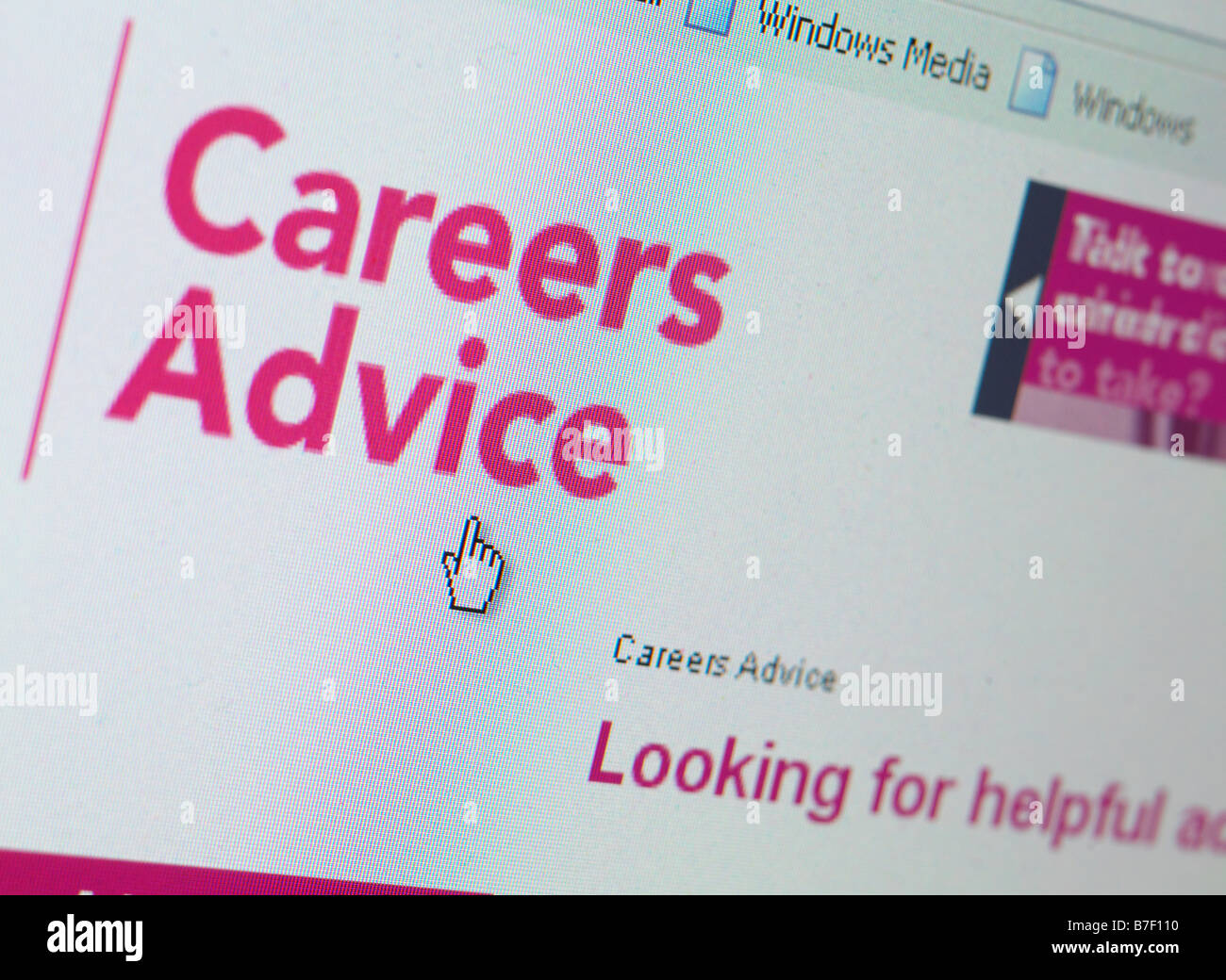 WEB SITE UK JOB CAREERS ADVICE HELP - Stock Image