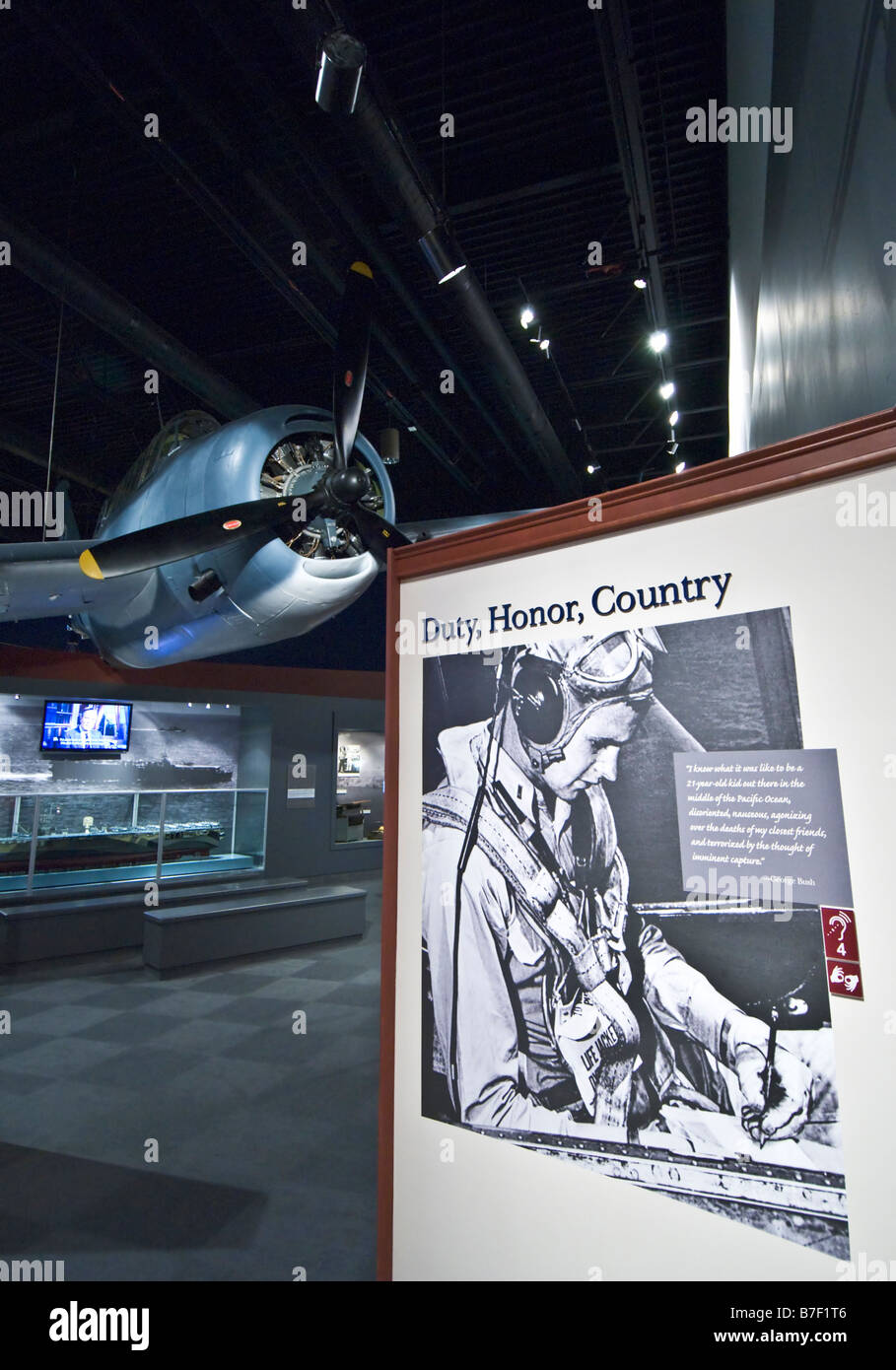 Texas College Station George Bush Presidential Library and Museum exhibit of aircraft he flew as a navy pilot - Stock Image
