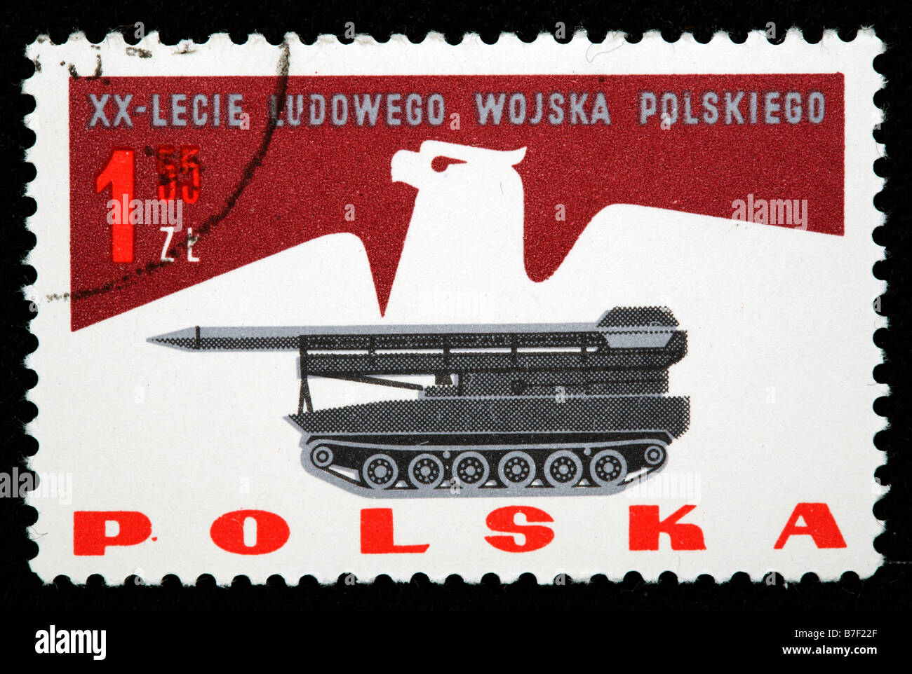 Rocket launcher, 20 anniversary of army of Polish people republic, 1960s, postage stamp, Poland - Stock Image