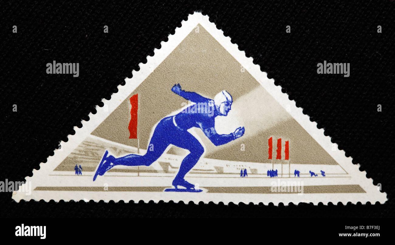 Sport Skate skating postage stamp - Stock Image